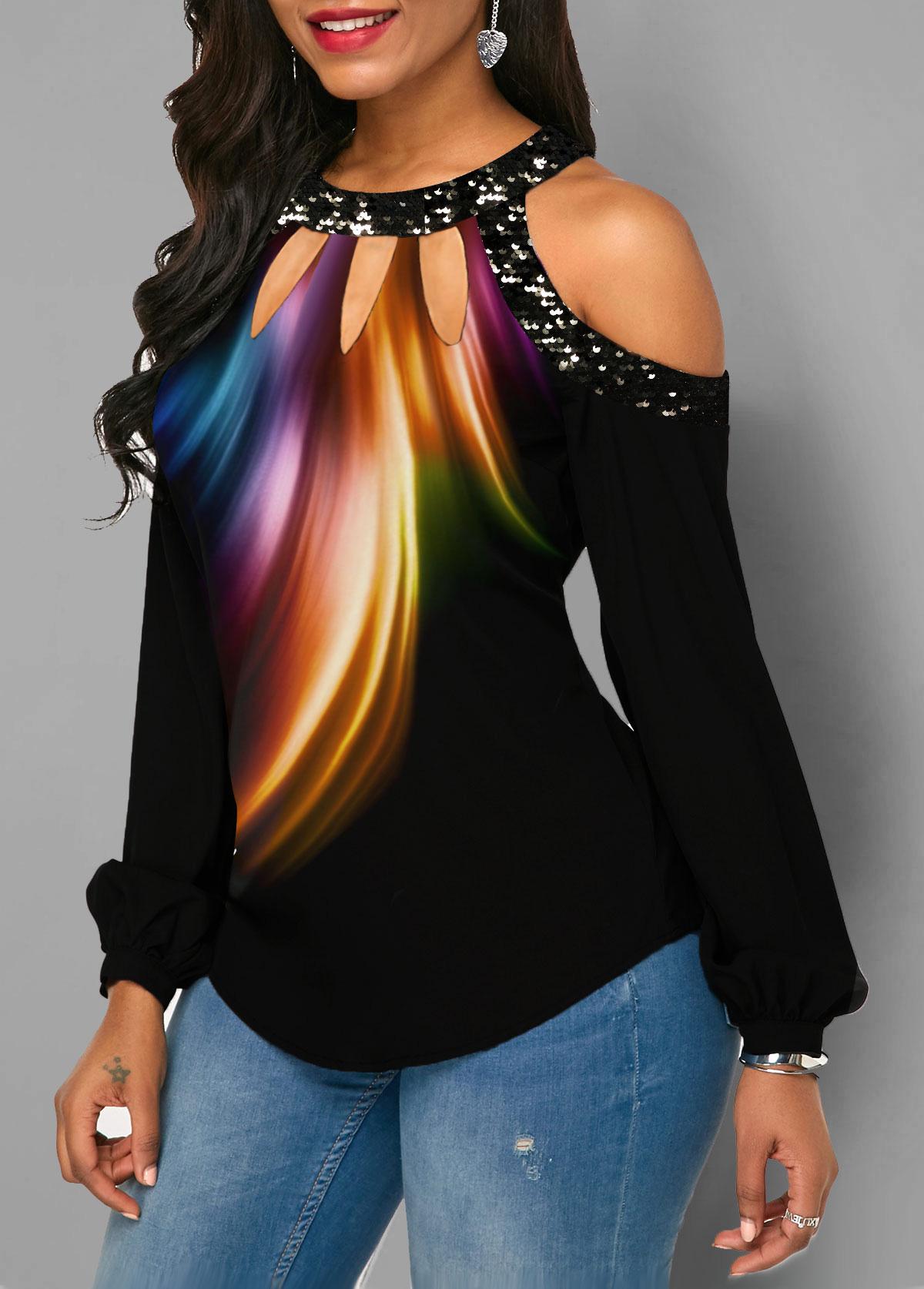 Printed Cold Shoulder Sequin Embellished Rainbow Color T Shirt