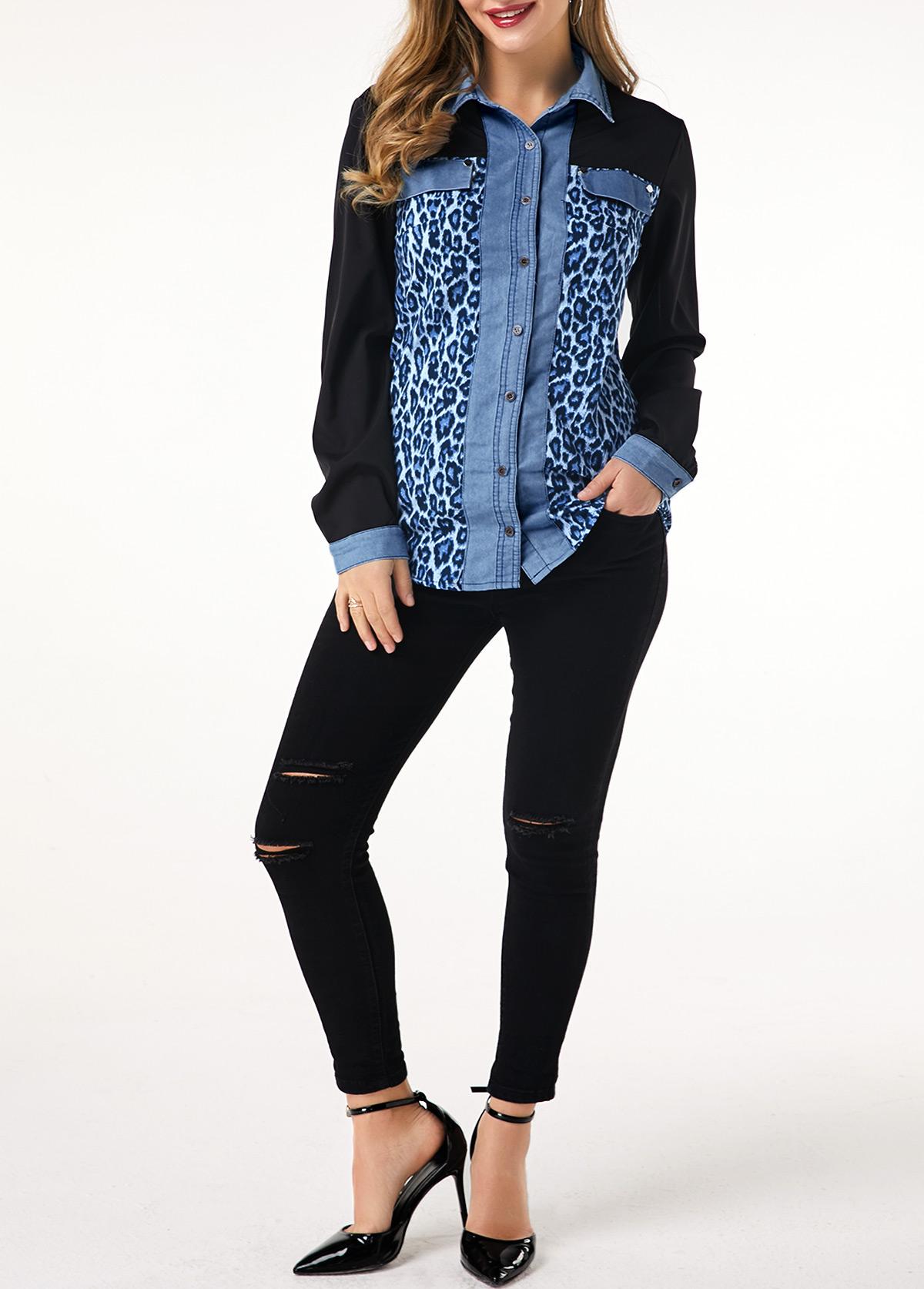 Denim Panel Leopard Print Button Up Shirt