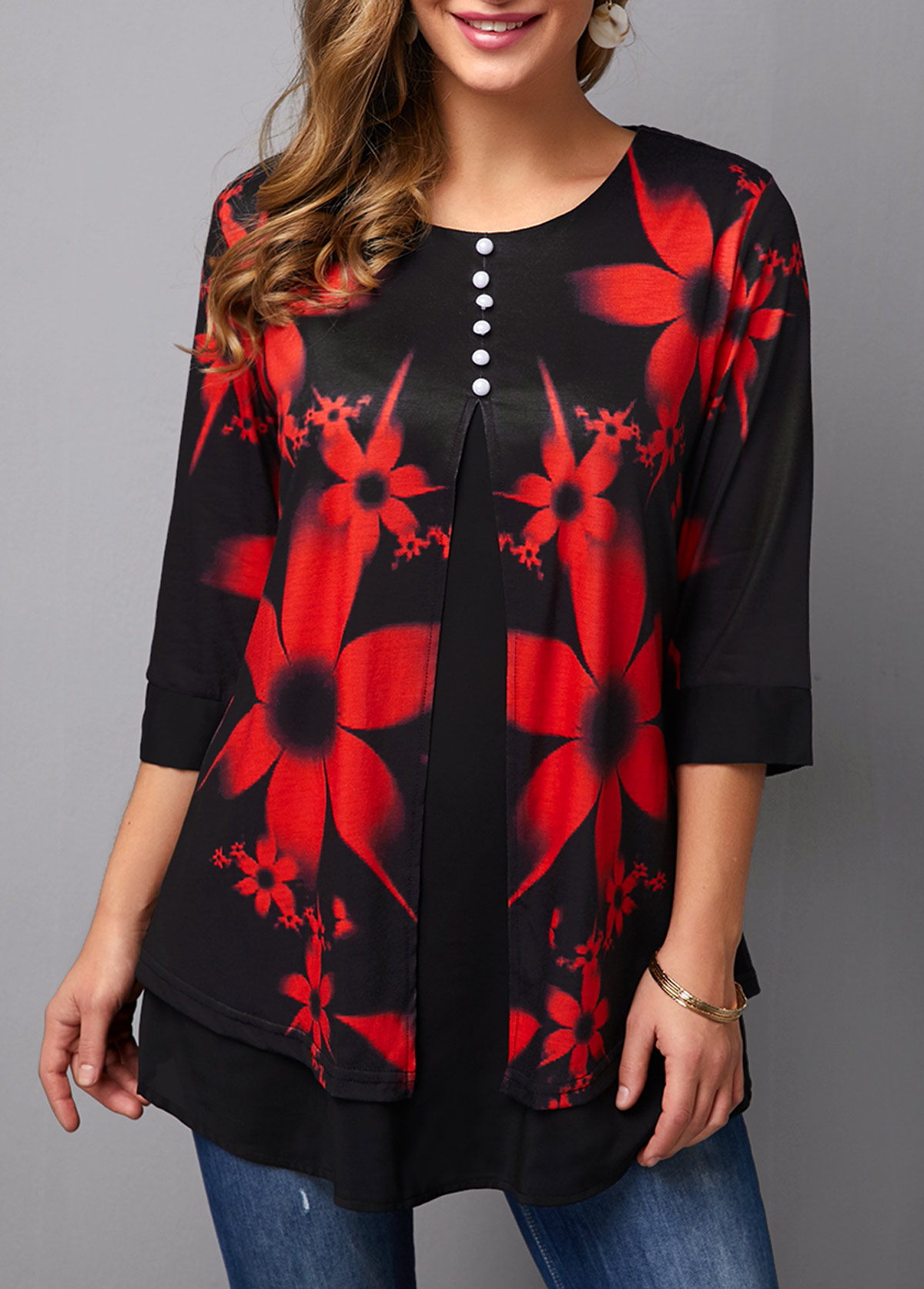Floral Print Button Decorated Half Sleeve T Shirt