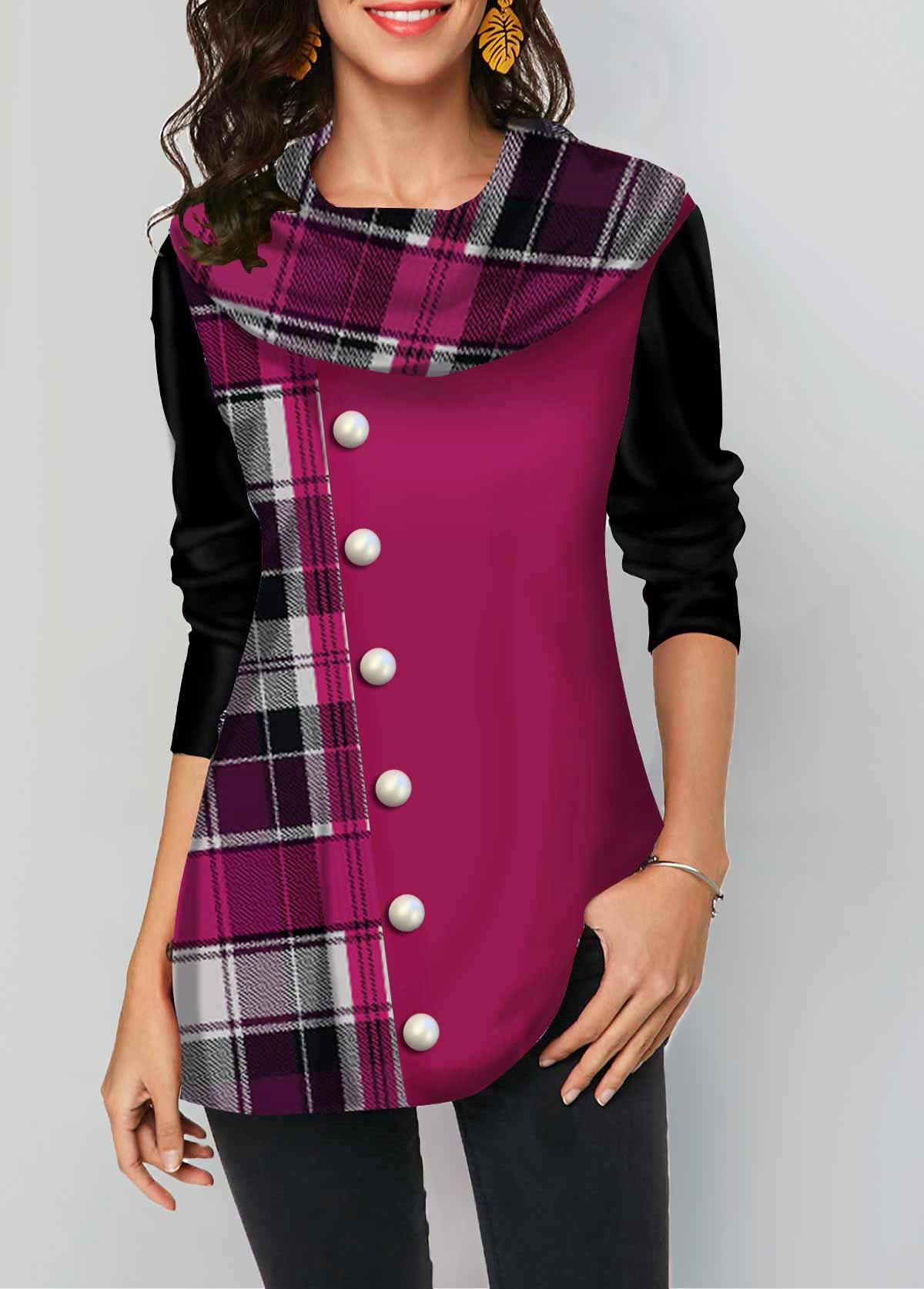 Button Detail Plaid Print Long Sleeve T Shirt