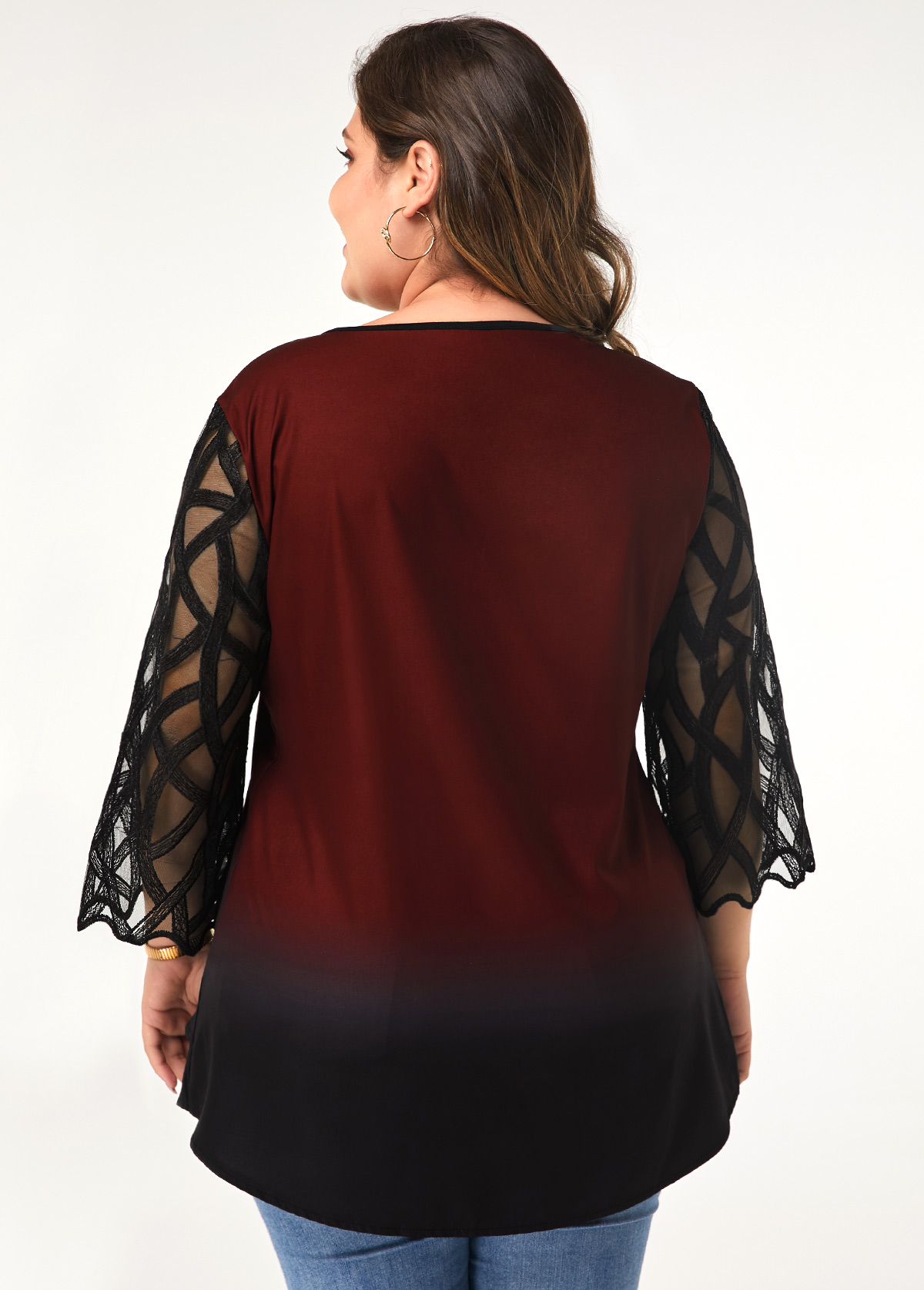 Plus Size Three Quarter Sleeve Button Front Blouse