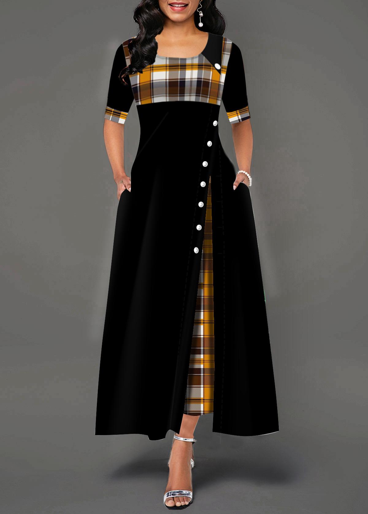 Half Sleeve Plaid Print Button Detail Maxi Dress