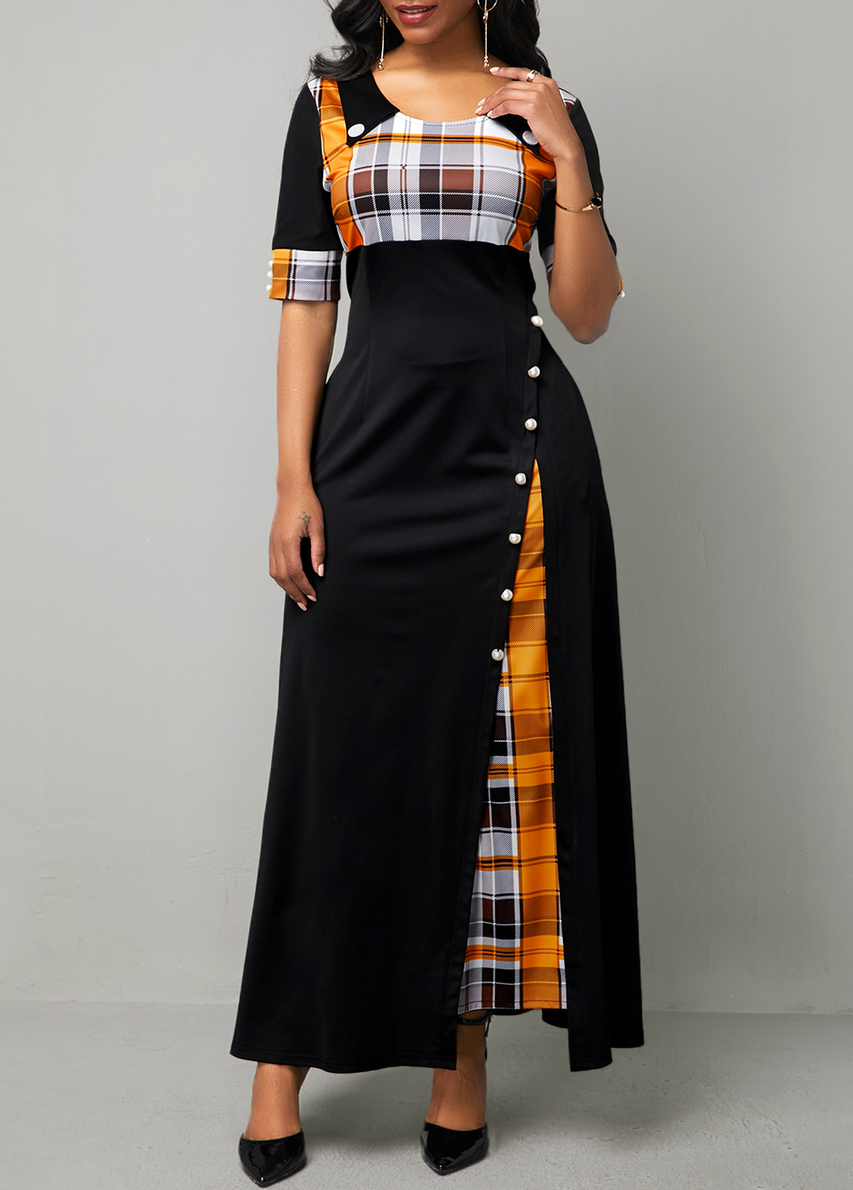Half Sleeve Plaid Print Button Detail Maxi Dress