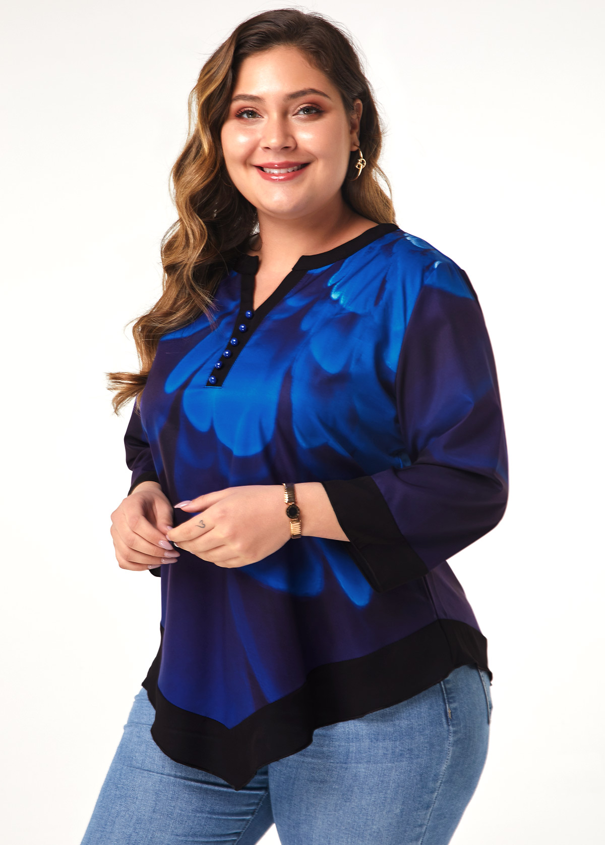 Asymmetric Hem Plus Size Flower Print Blouse