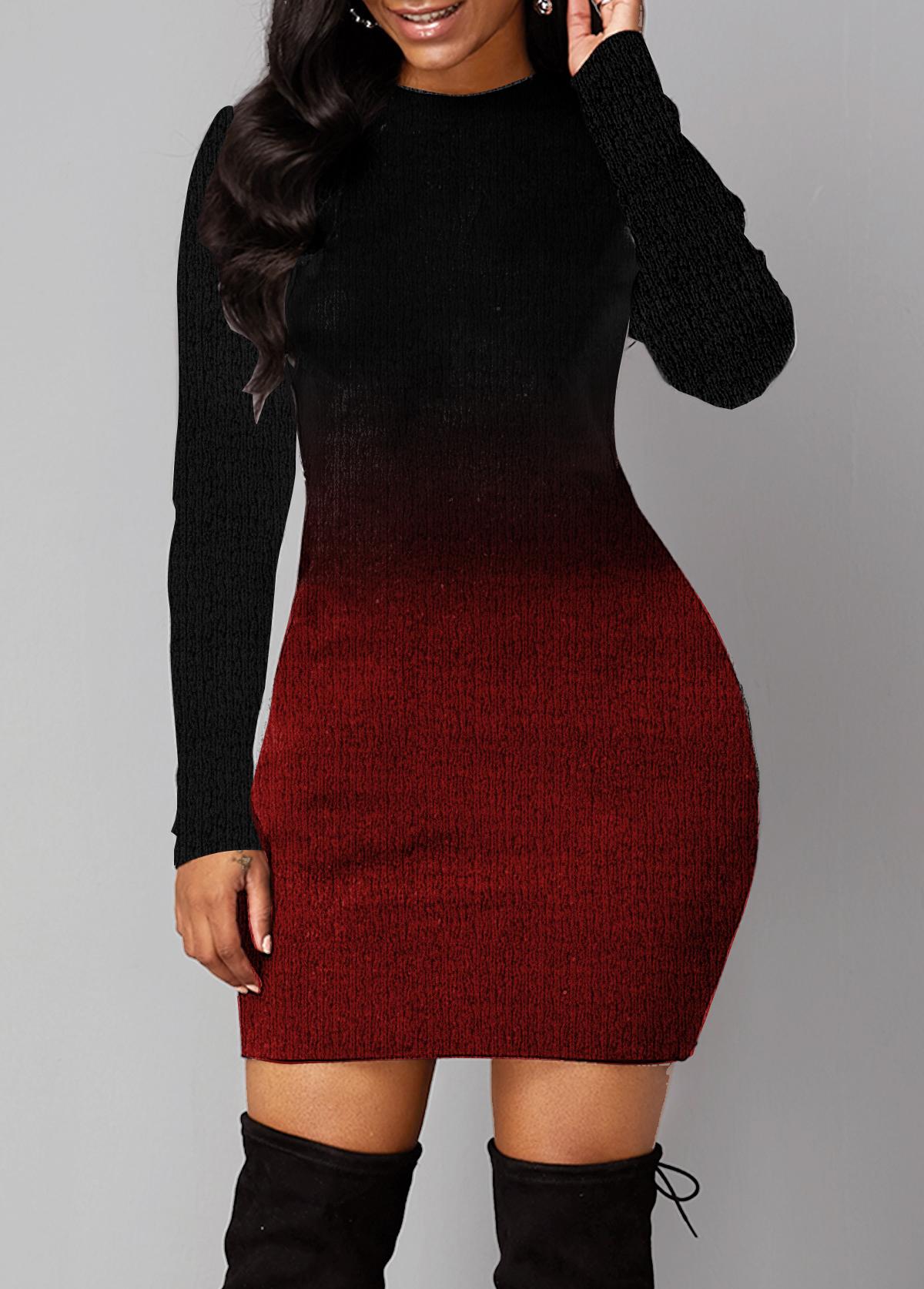 Round Neck Long Sleeve Gradient Sweater Dress
