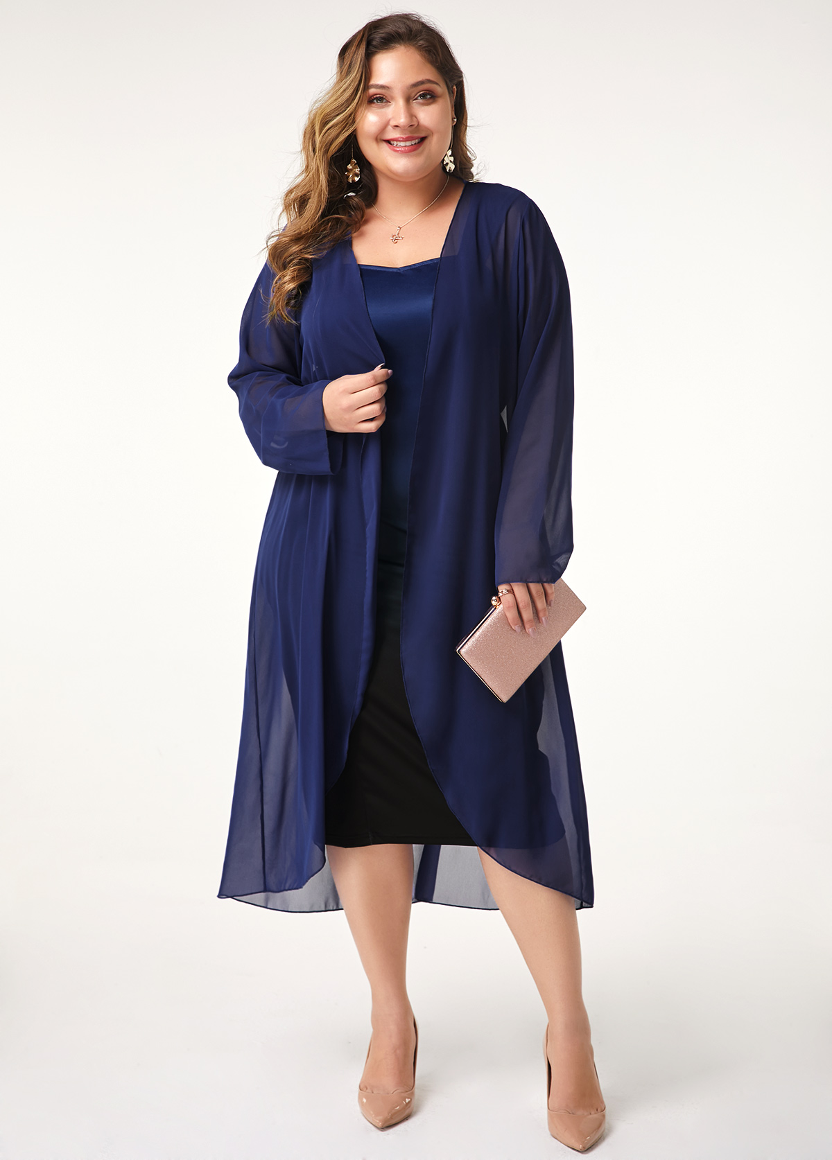 Plus Size Long Sleeve Chiffon Cardigan and Gradient Dress