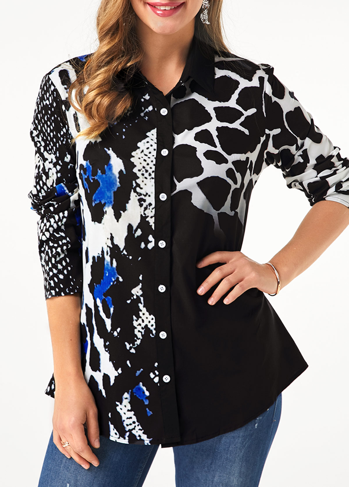 Turndown Collar Button Up Leopard Print Shirt