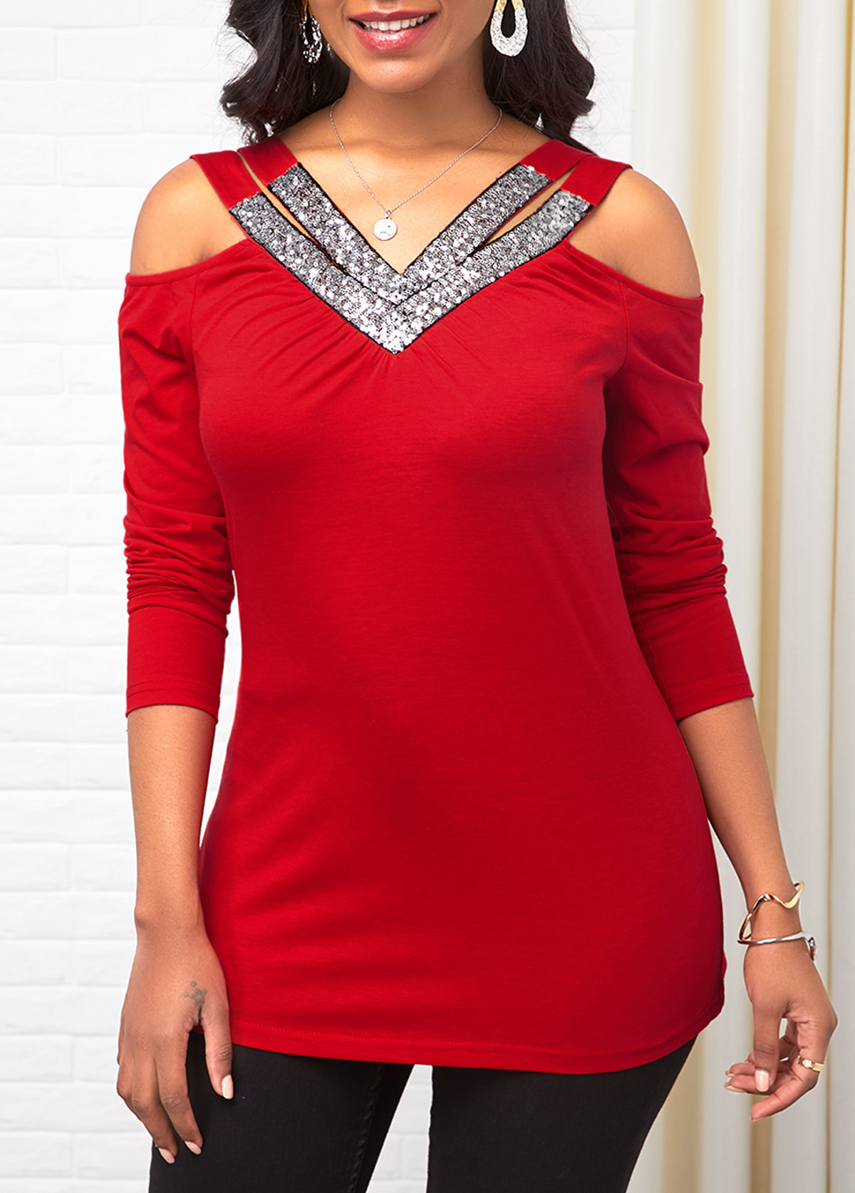 Red Sequin Embellished Cold Shoulder T Shirt