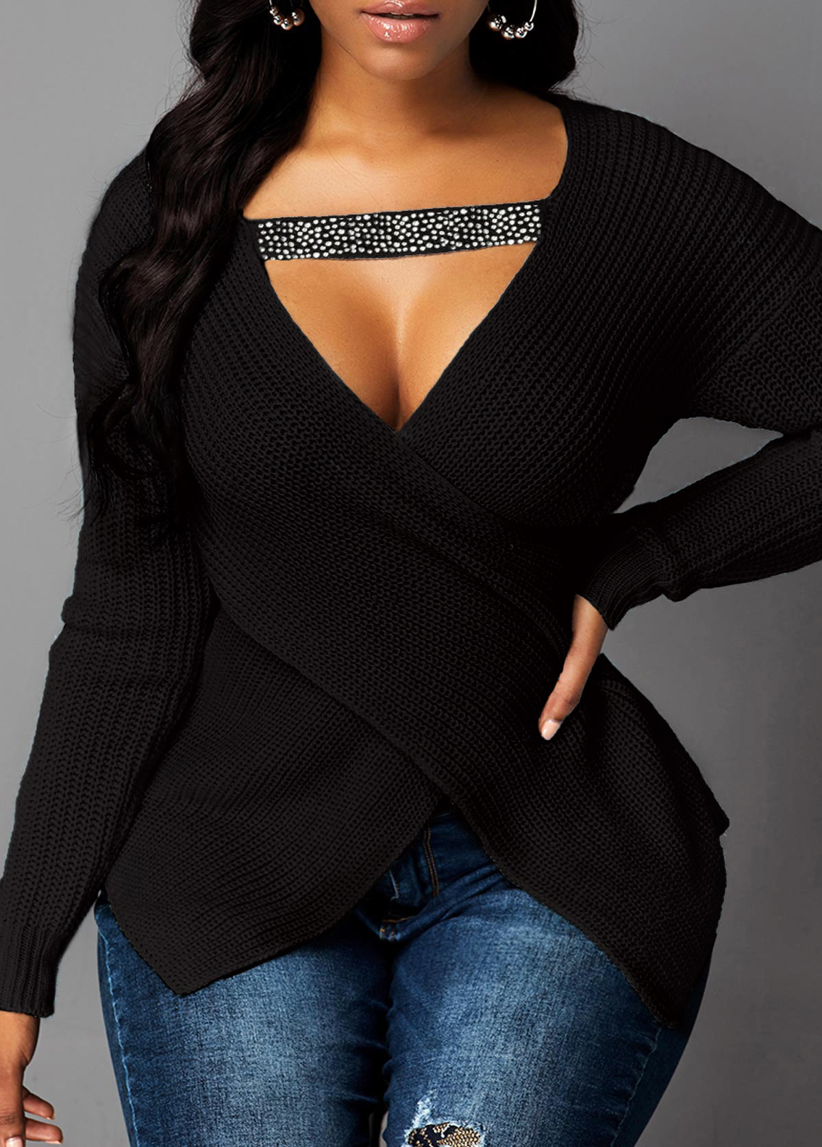 Cutout Front Asymmetric Hem Black Sweater