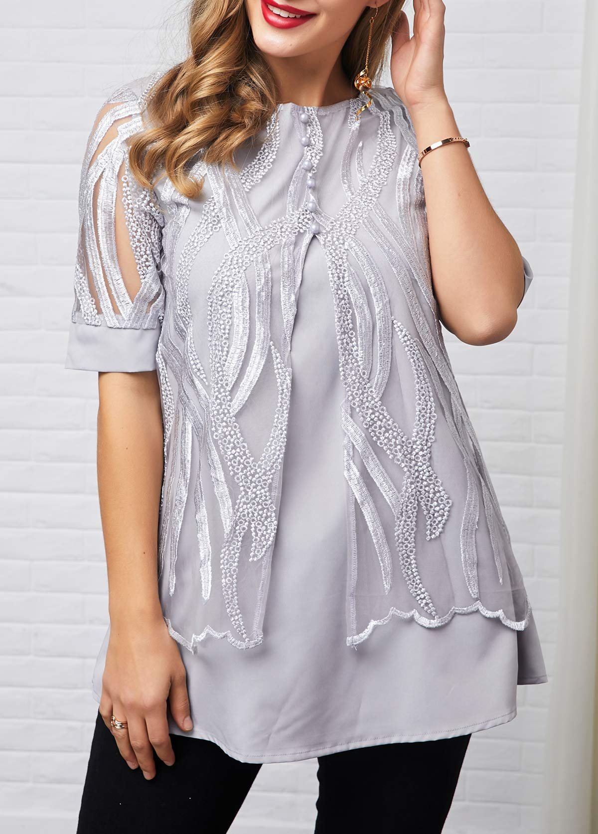 Lace Patchwork Half Sleeve Button Detail T Shirt