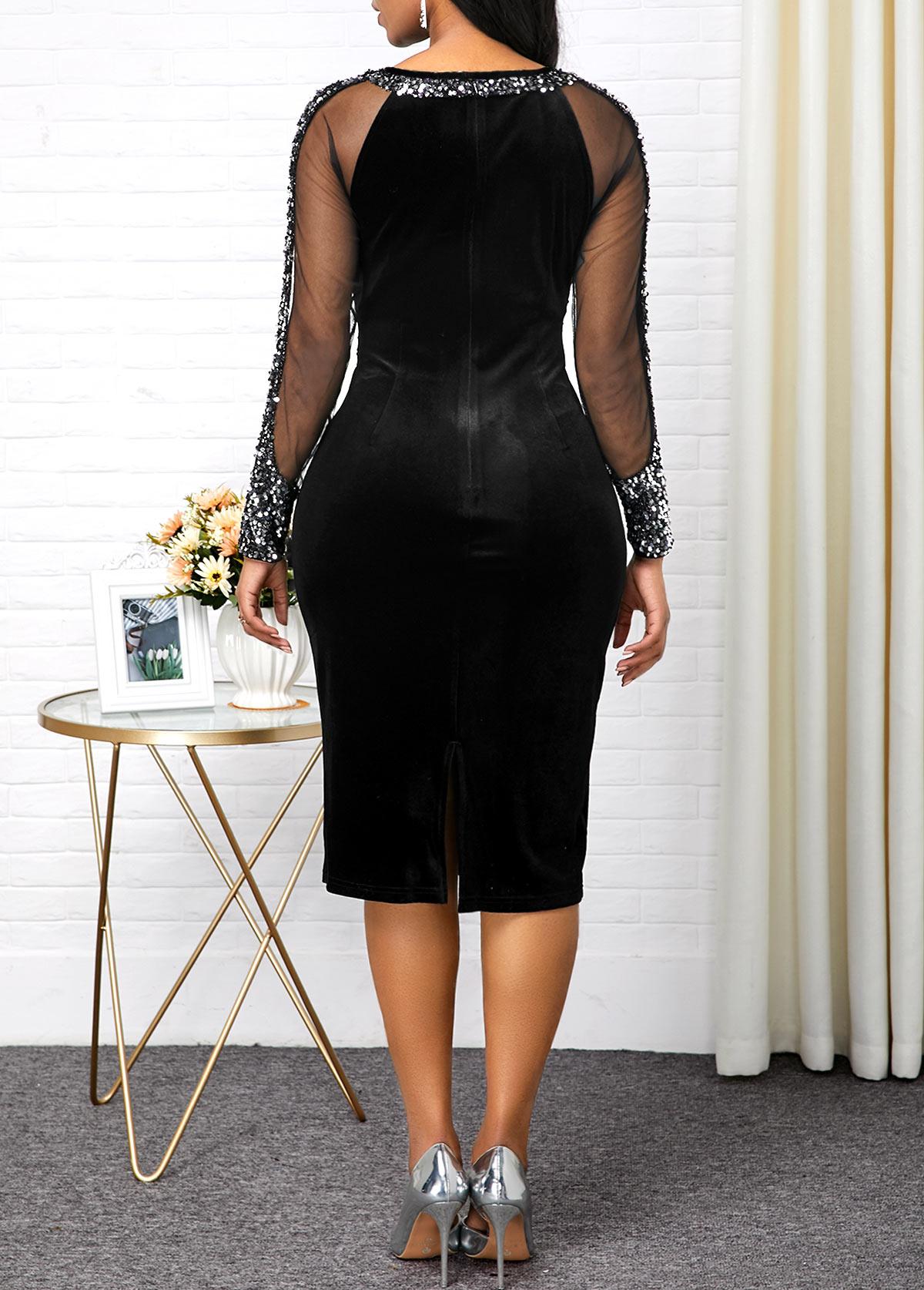 Black Sequin Embellished Back Slit Dress
