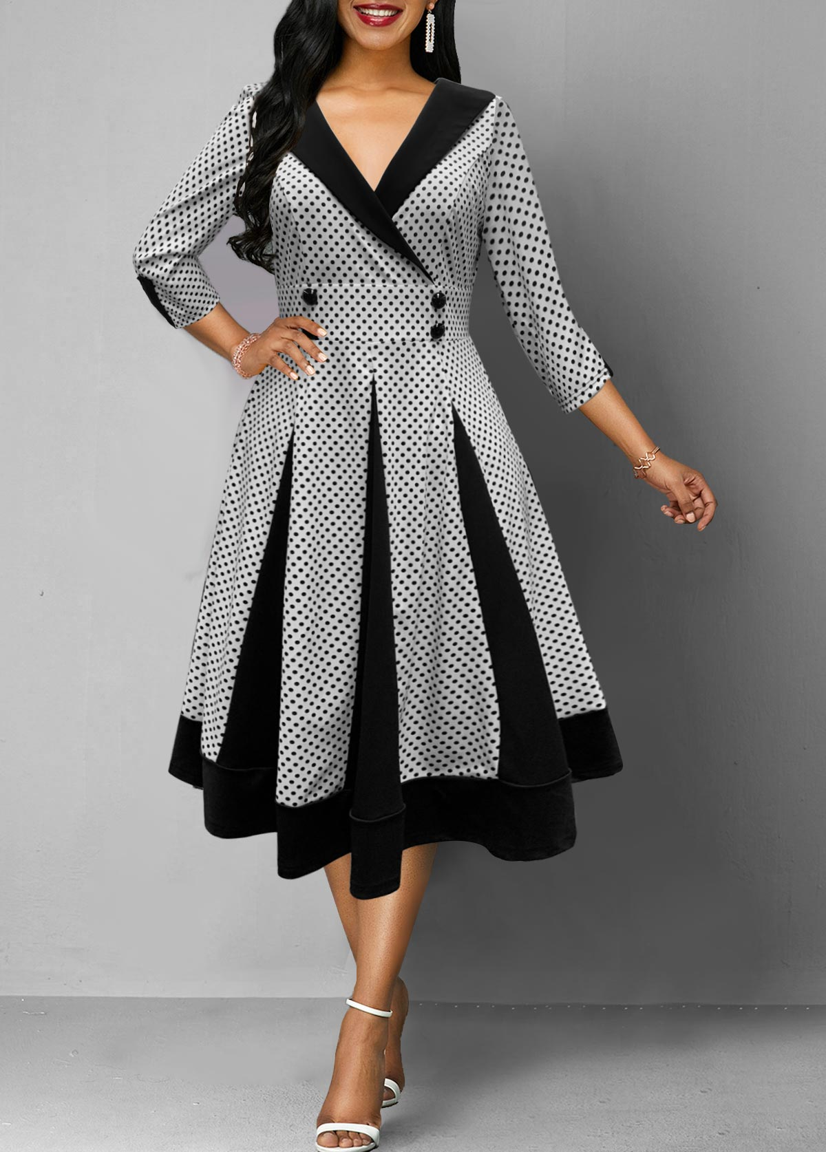 Three Quarter Sleeve Polka Dot Print Button Detail Dress