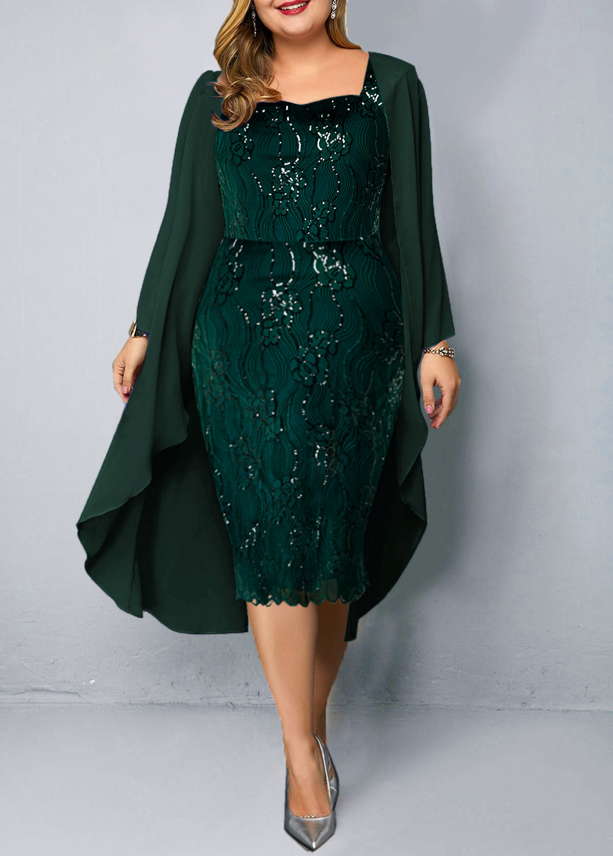 Chiffon Cardigan and Plus Size Sequin Embellished Dress
