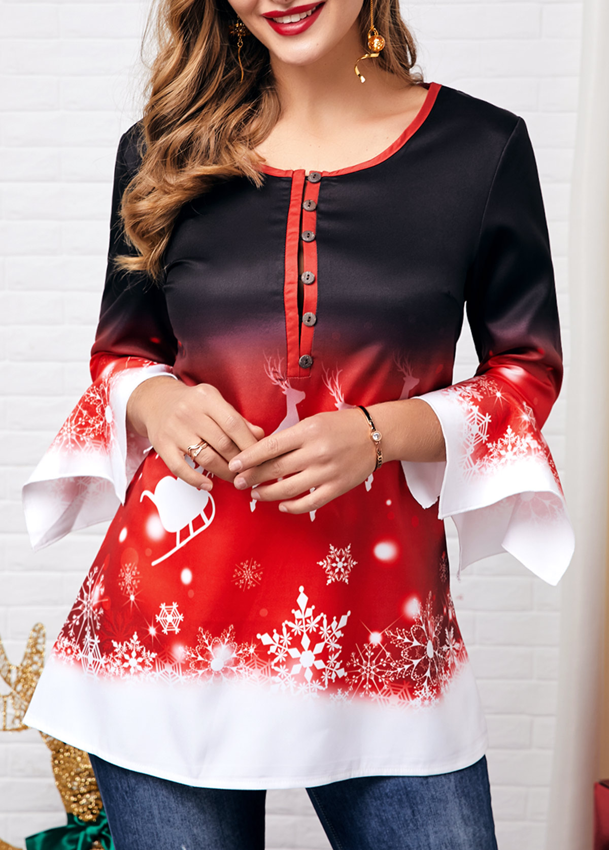 Button Front Flare Cuff Christmas Elk Print Blouse