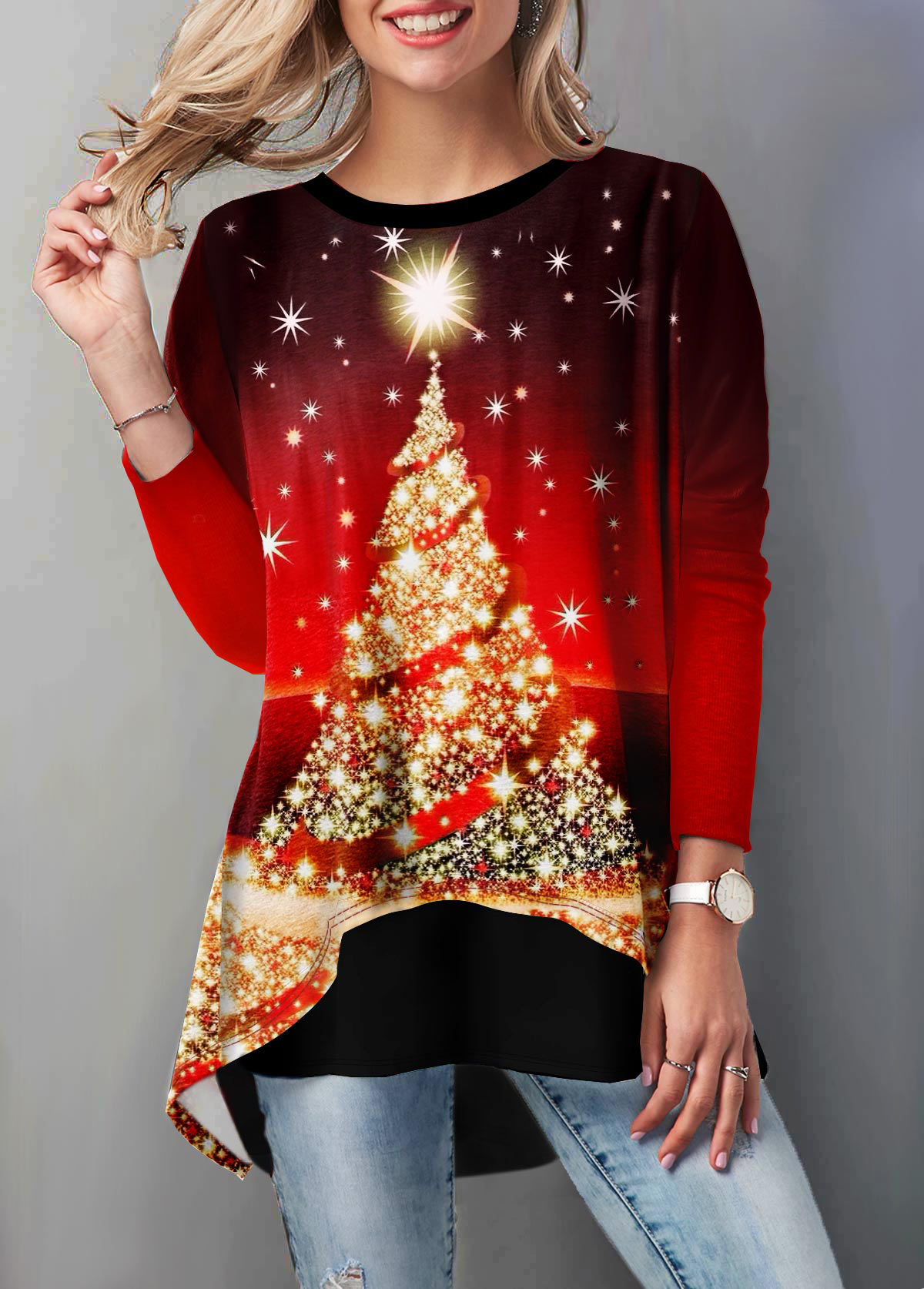 Red Layered Hem Christmas Tree Print T Shirt