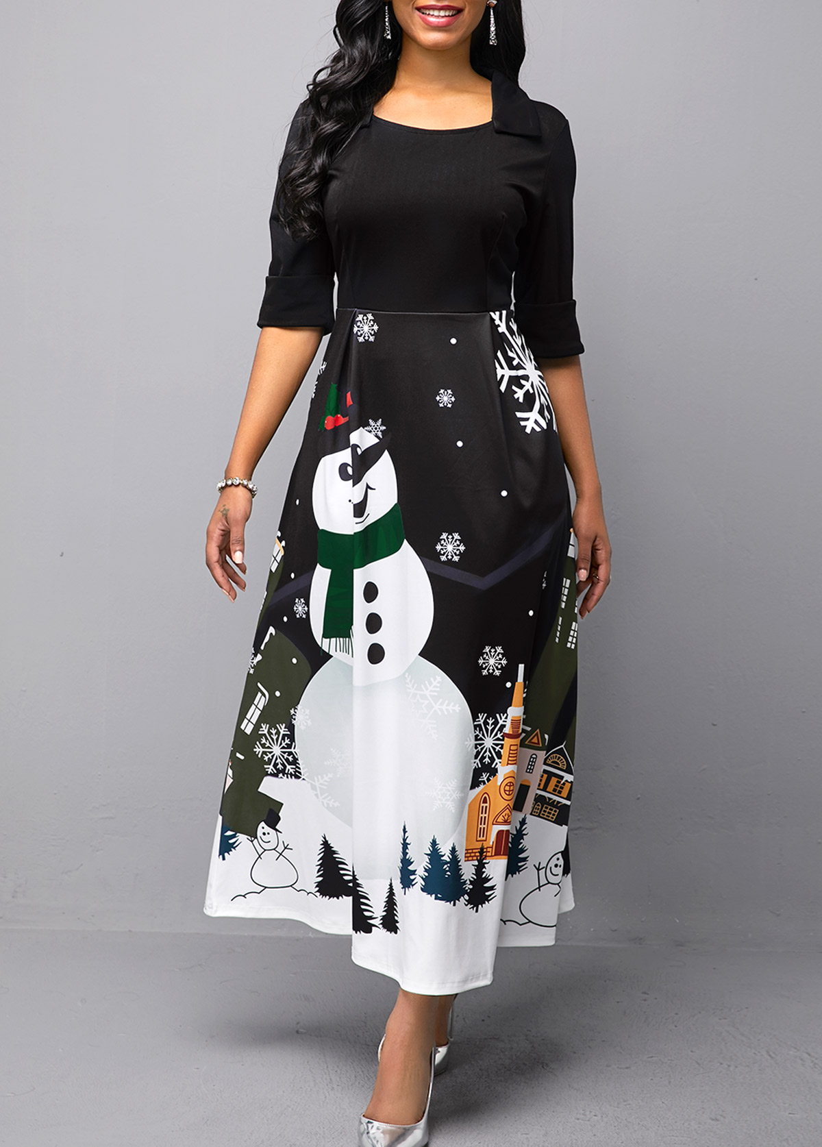 Half Sleeve Christmas Snowman Print Black Dress
