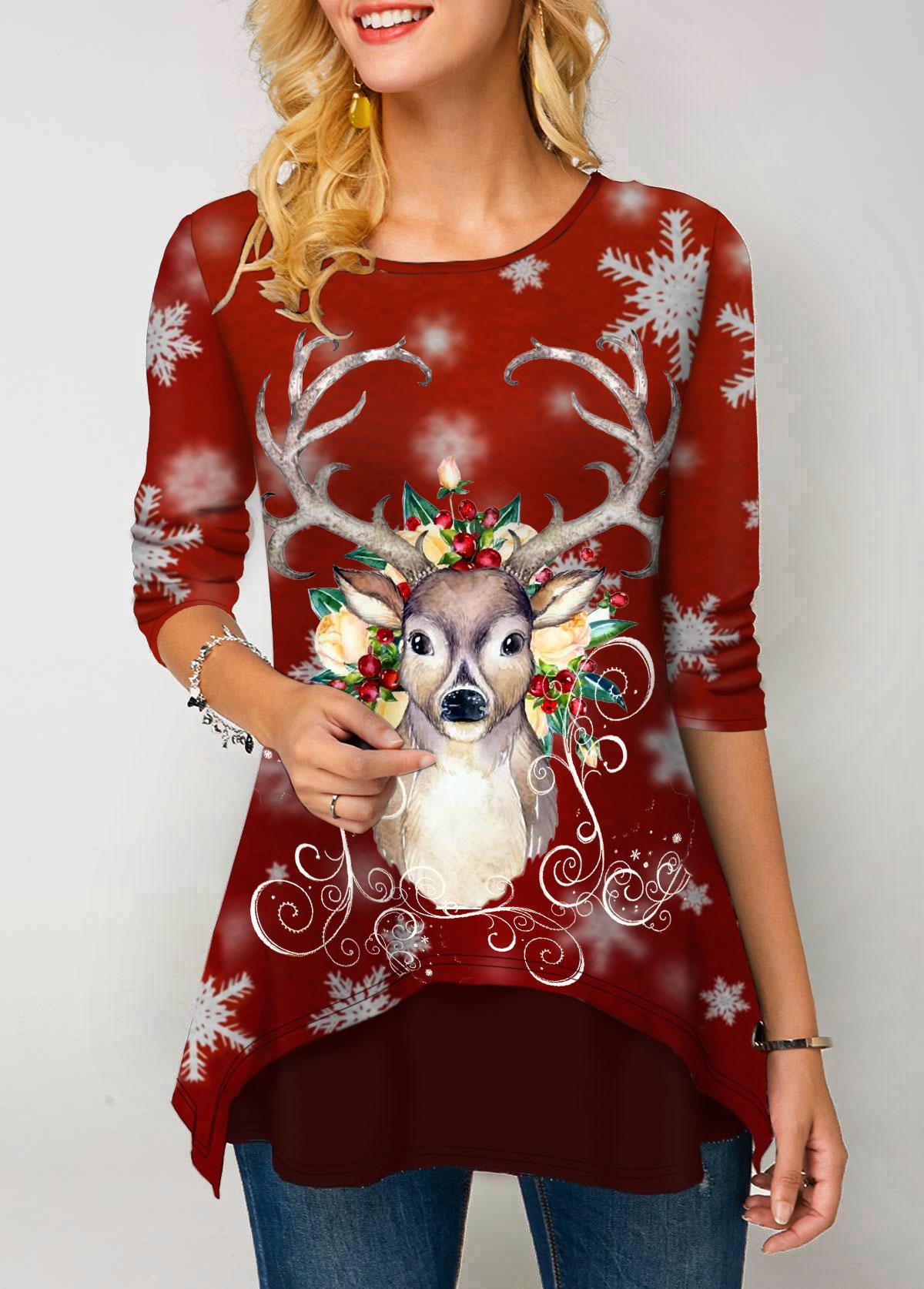 Round Neck Christmas Elk Print Long Sleeve T Shirt