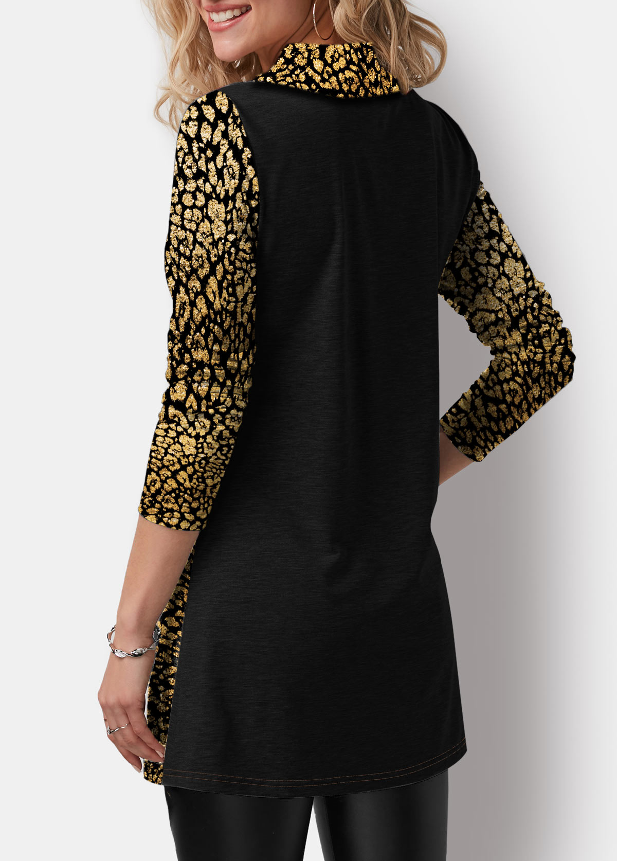 Asymmetric Hem Hot Stamping Button Detail T Shirt
