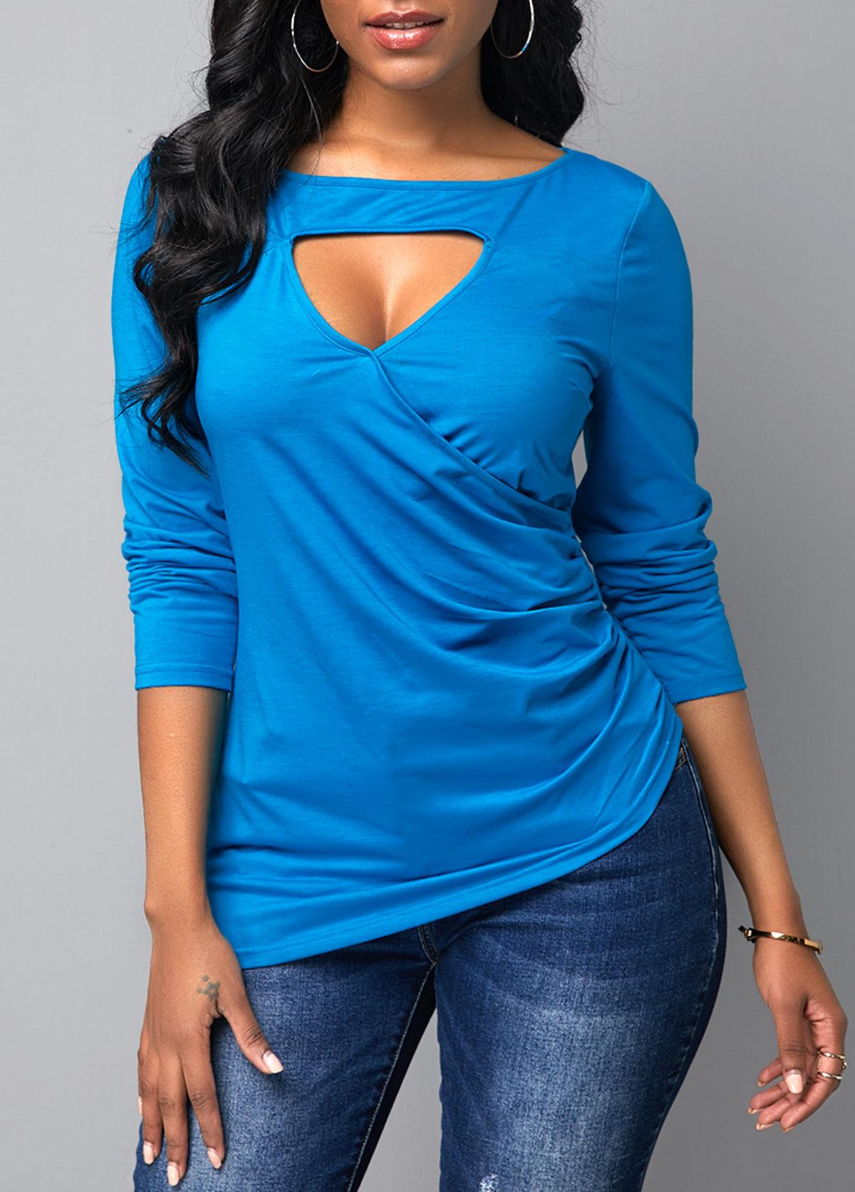 Irregular Hem Sky Blue keyhole Neckline Long Sleeve T Shirt