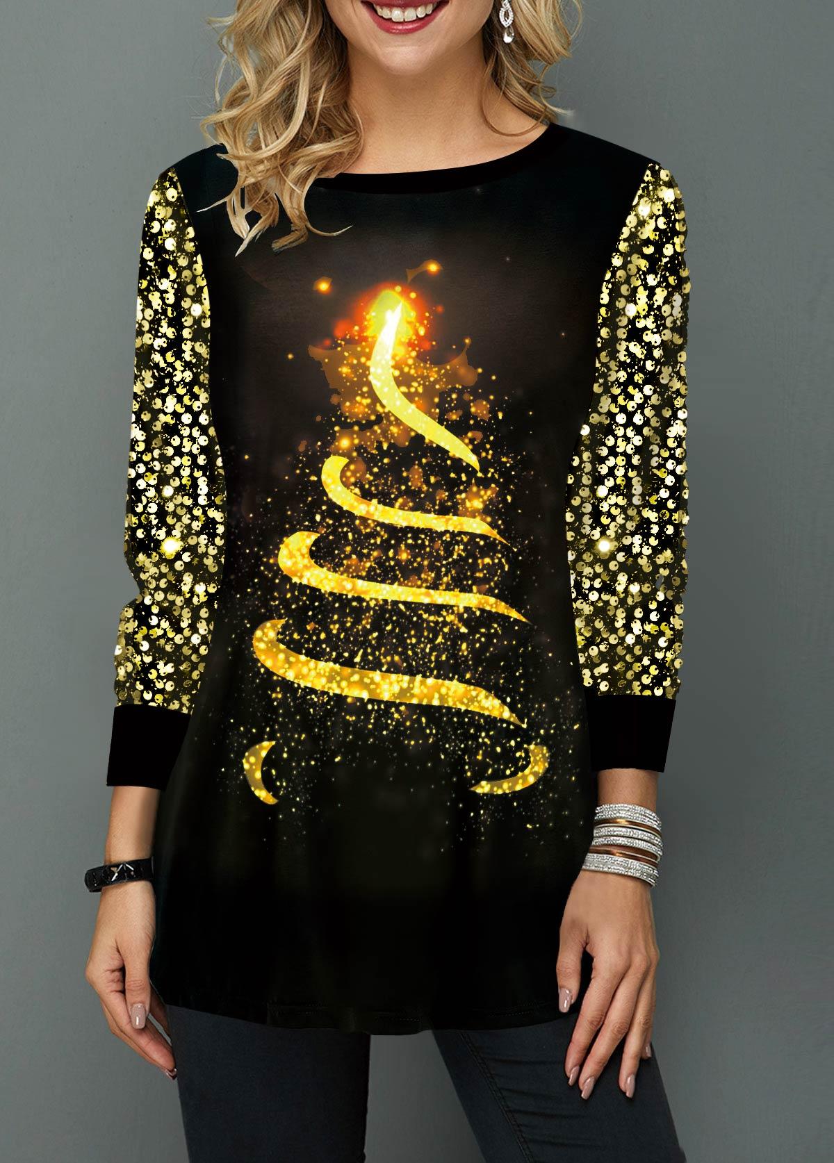 Christmas Tree Print Round Neck T Shirt
