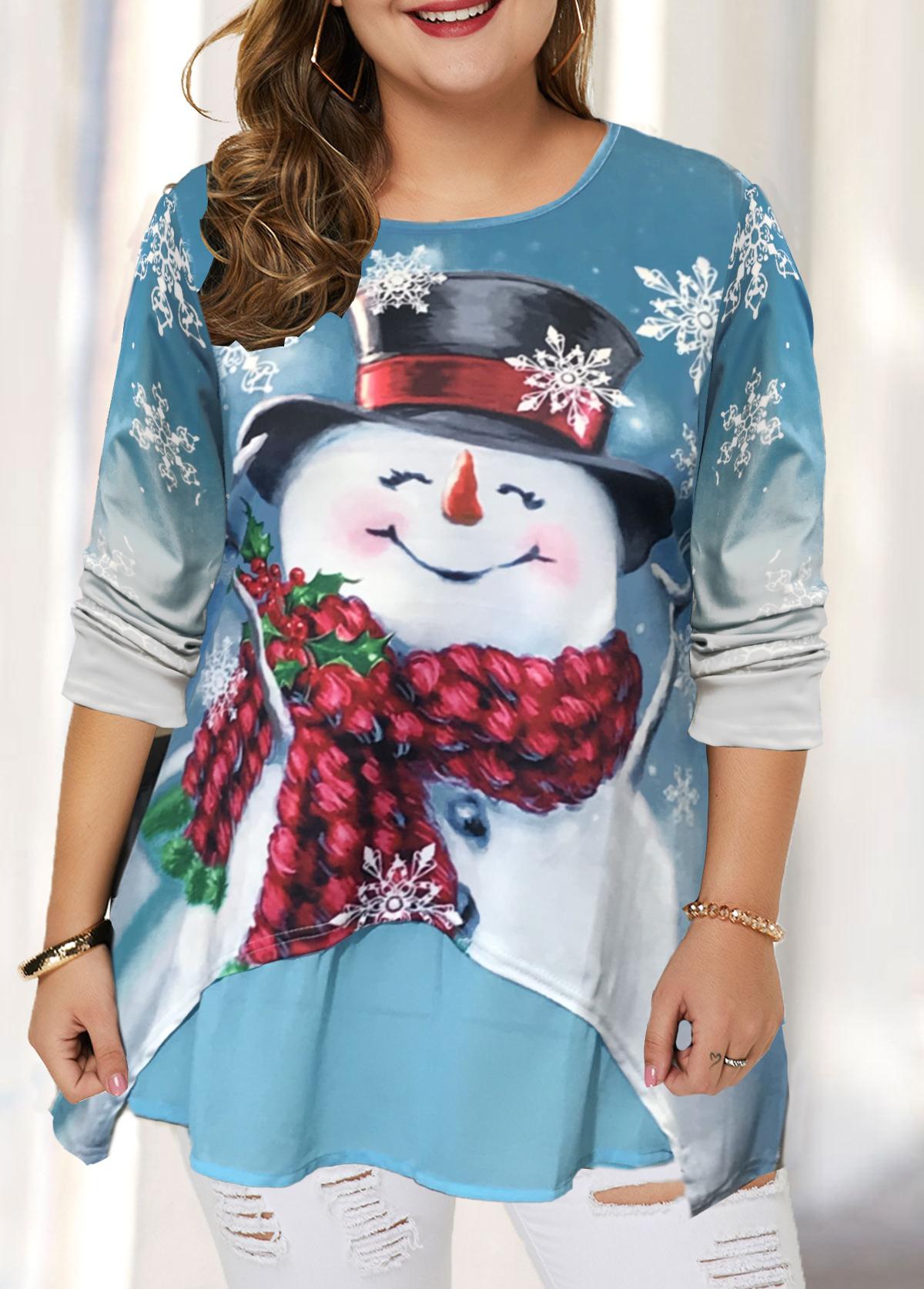 Christmas Print Long Sleeve Plus Size T Shirt