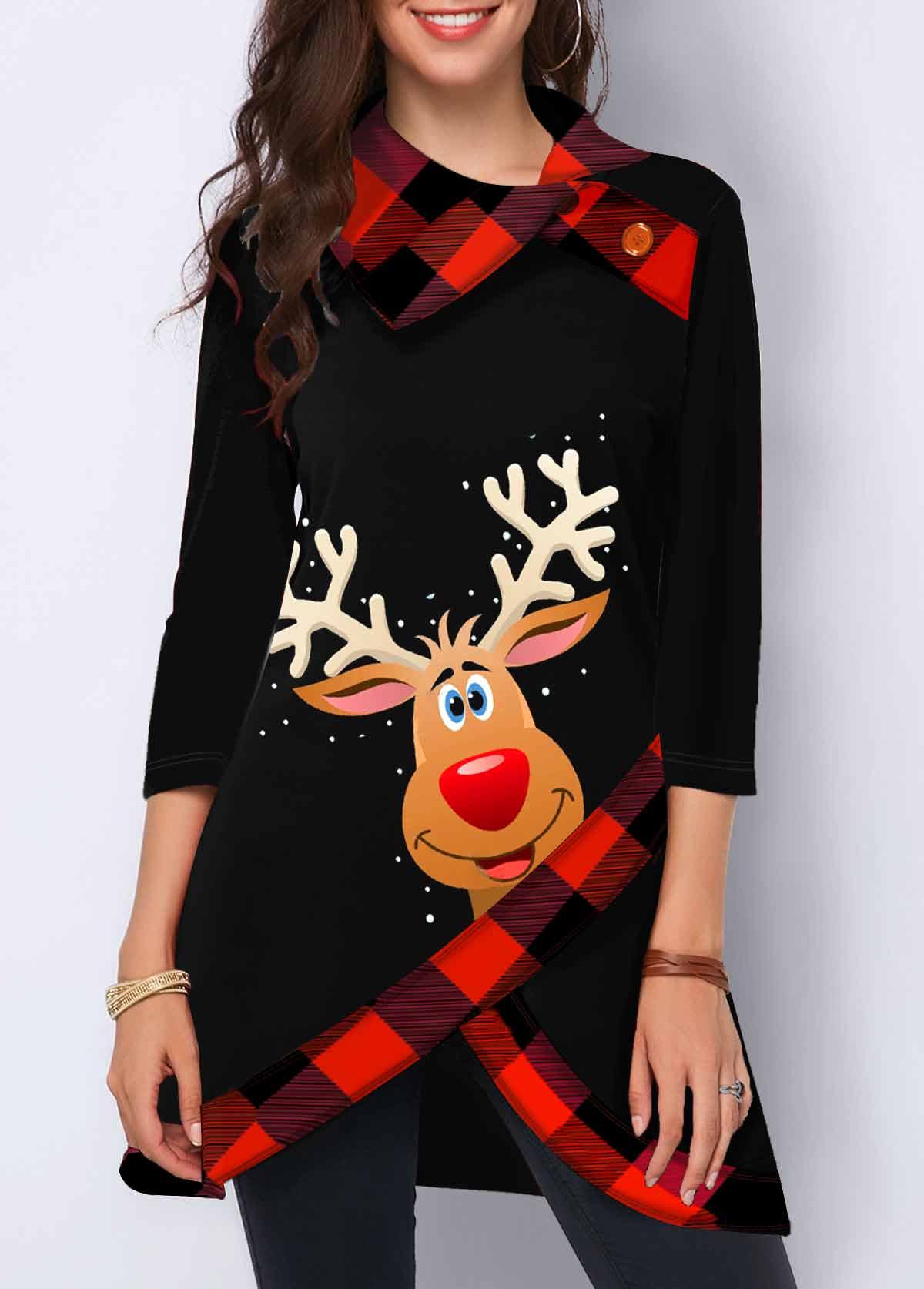 Button Detail Christmas Elk Print Crossover Hem Sweatshirt