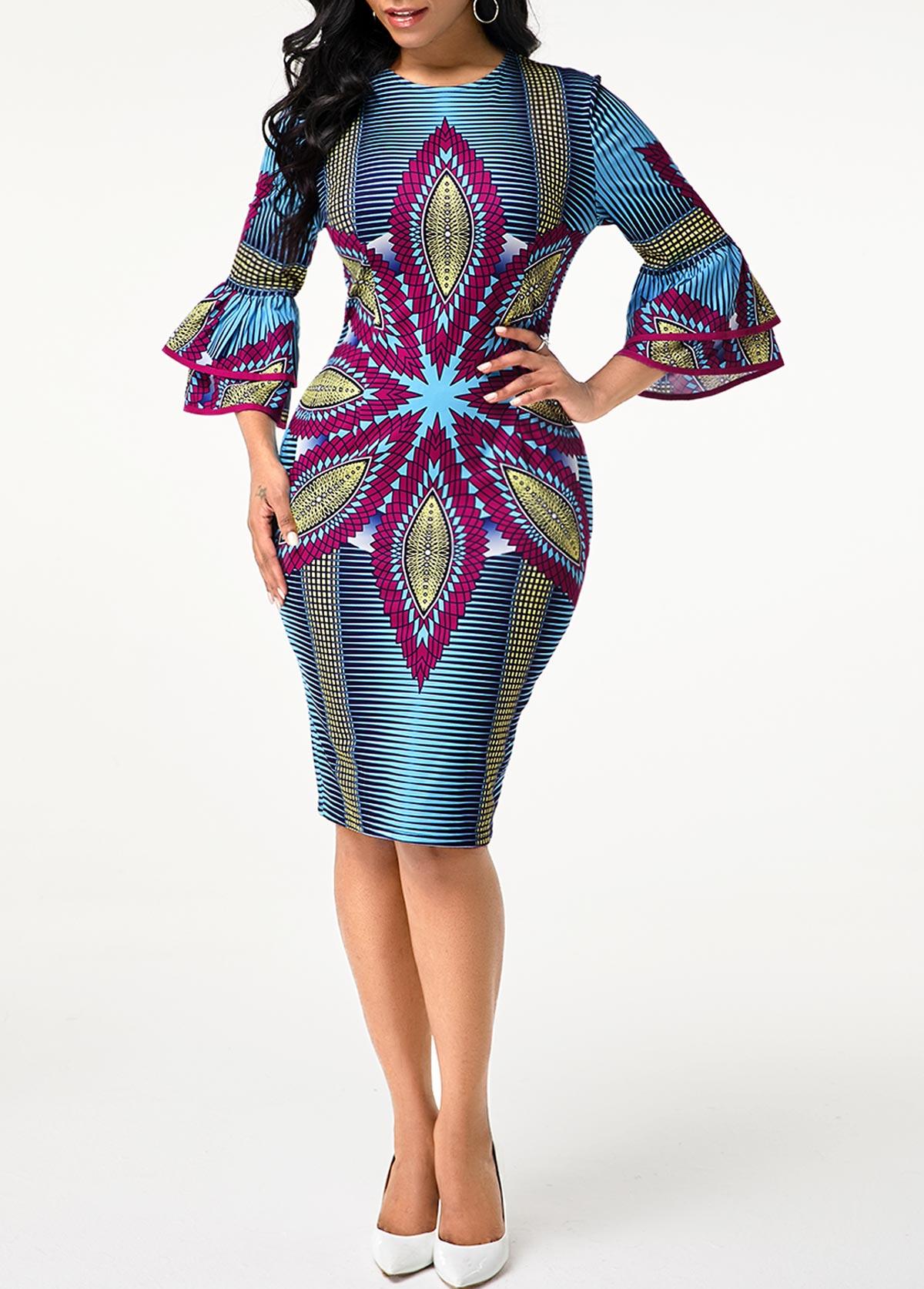 Tribal Print Round Neck Flare Sleeve Dress