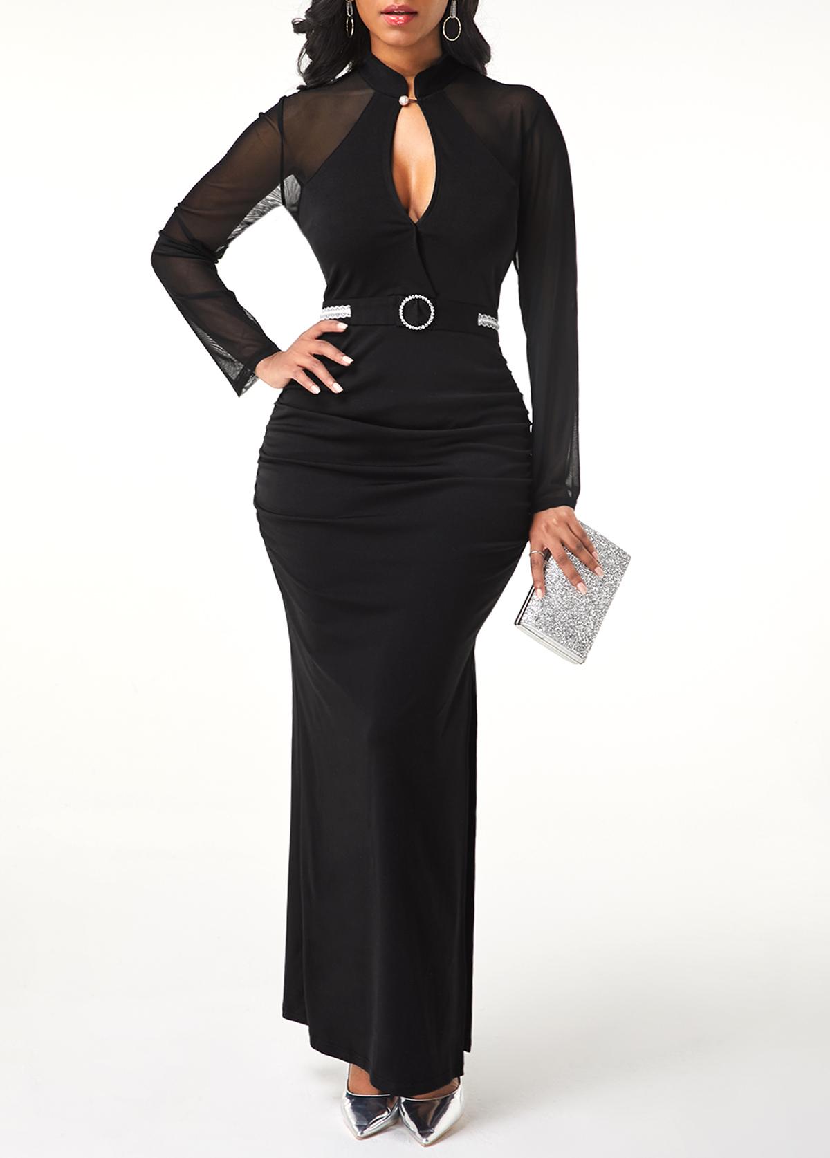 Side Slit Black Mesh Patchwork Dress
