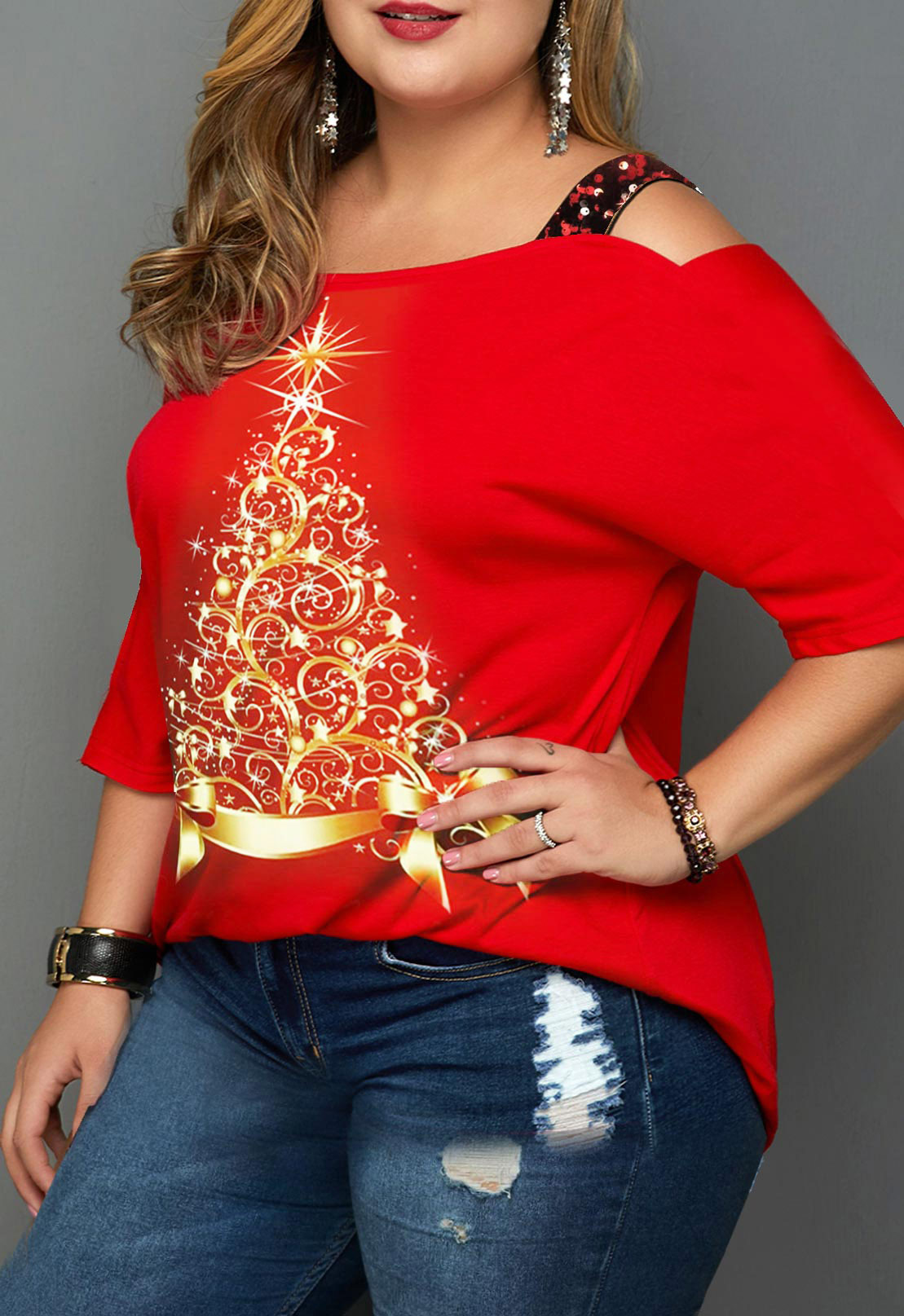 Christmas Print Plus Size Ladder Cutout T Shirt