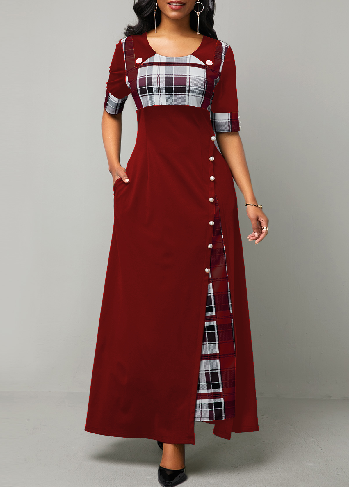 Button Detail Plaid Print Half Sleeve Maxi Dress