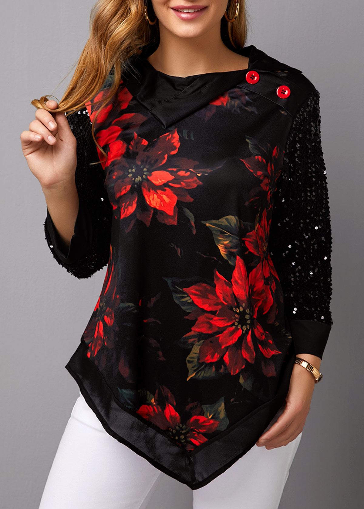 Sequin Panel Asymmetric Hem Christmas Print T Shirt