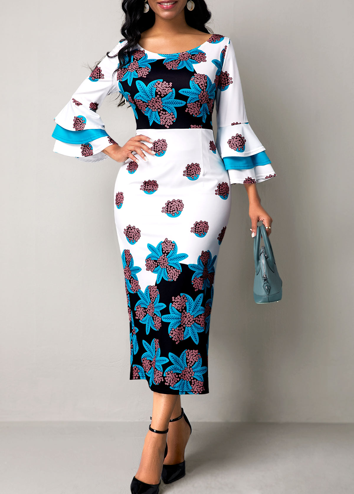 Flower Print Round Neck Flare Sleeve Dress