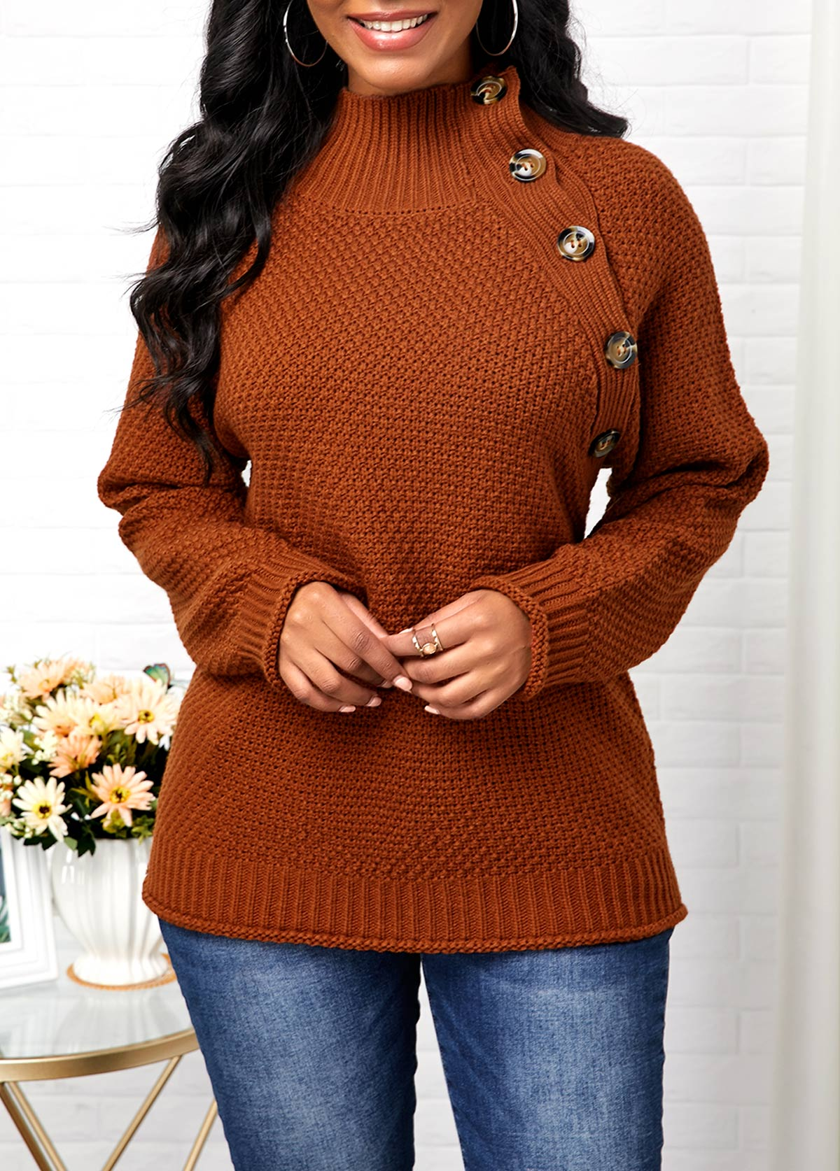 High Neck Button Detail Pullover Sweater