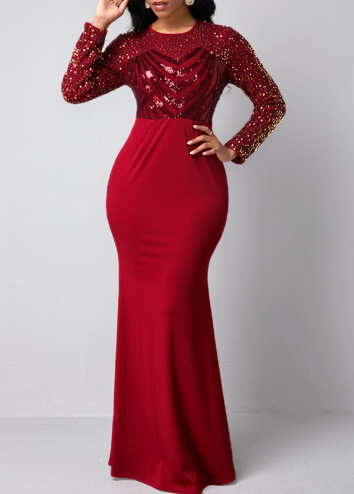 Sequin Detail Long Sleeve Red Mermaid Dress