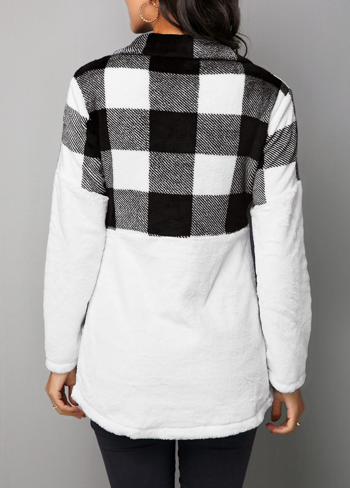 Long Sleeve Turndown Collar Plaid Patchwork Sweatshirt