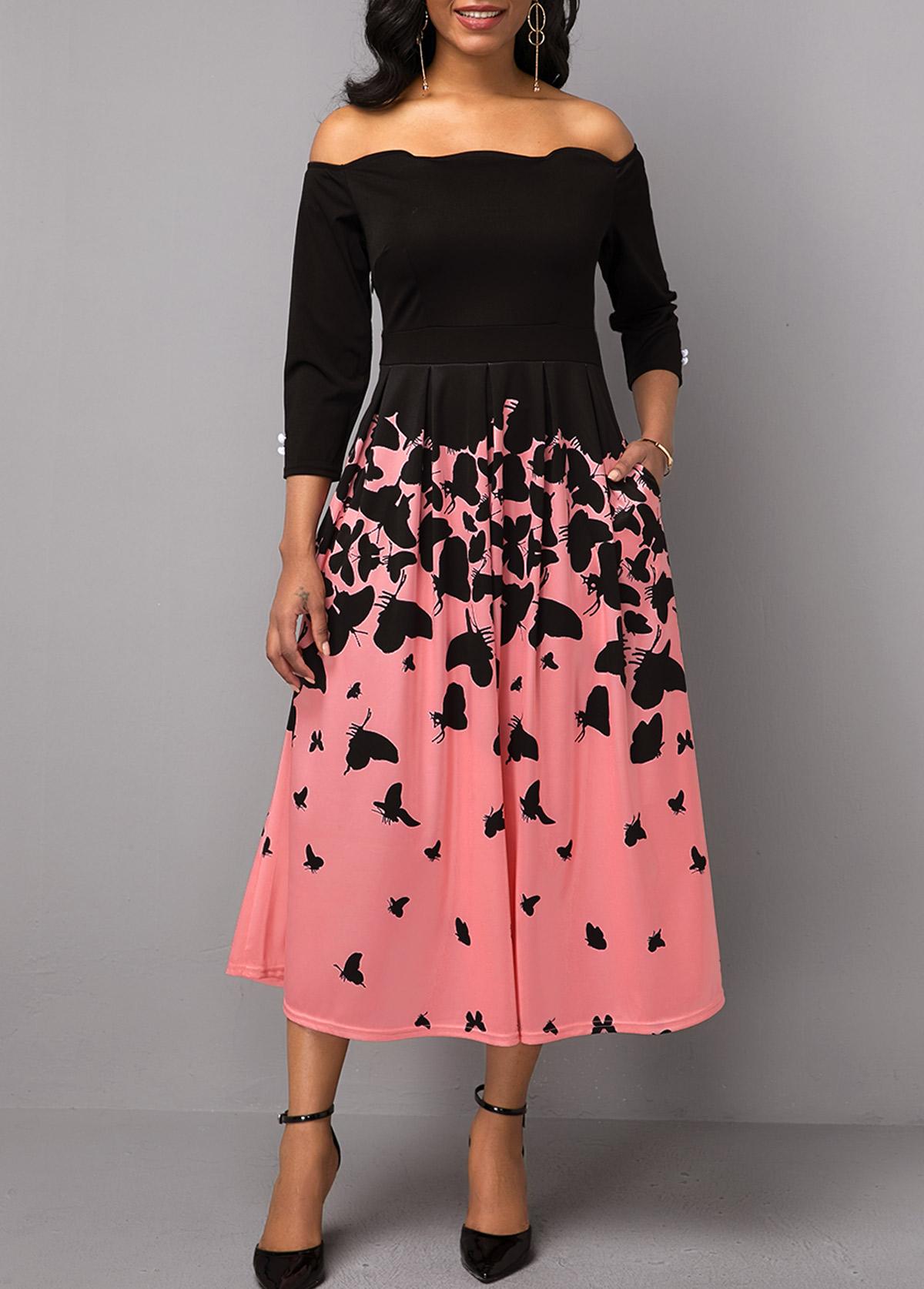 Scalloped Hem Butterfly Print Button Detail Dress