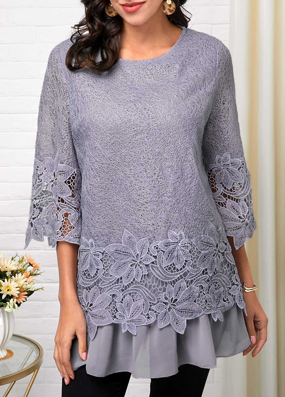 Three Quarter Sleeve Light Grey Lace T Shirt