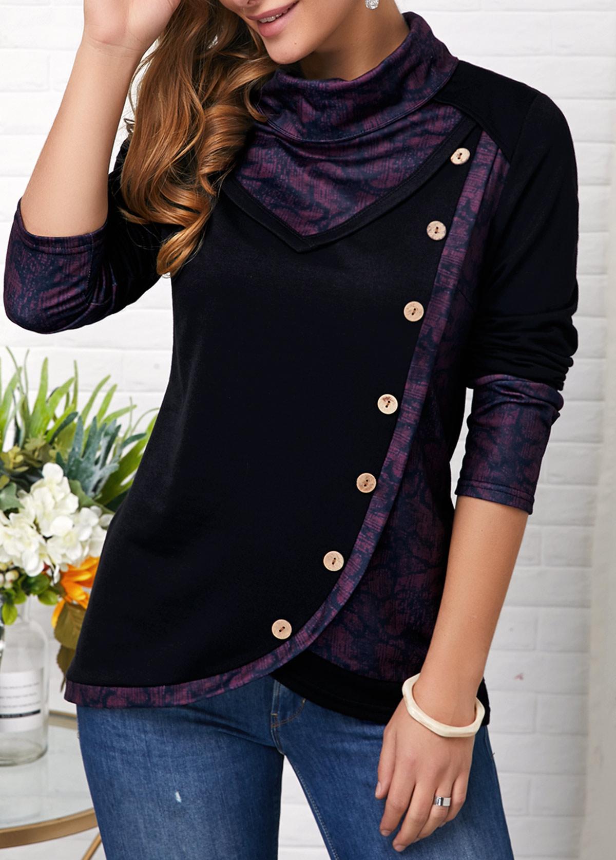 Button Detail Long Sleeve Asymmetric Hem Sweatshirt