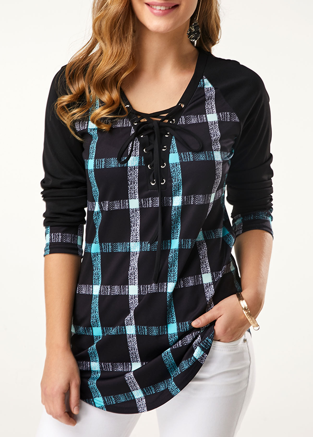Plaid Print Long Sleeve Lace Up T Shirt