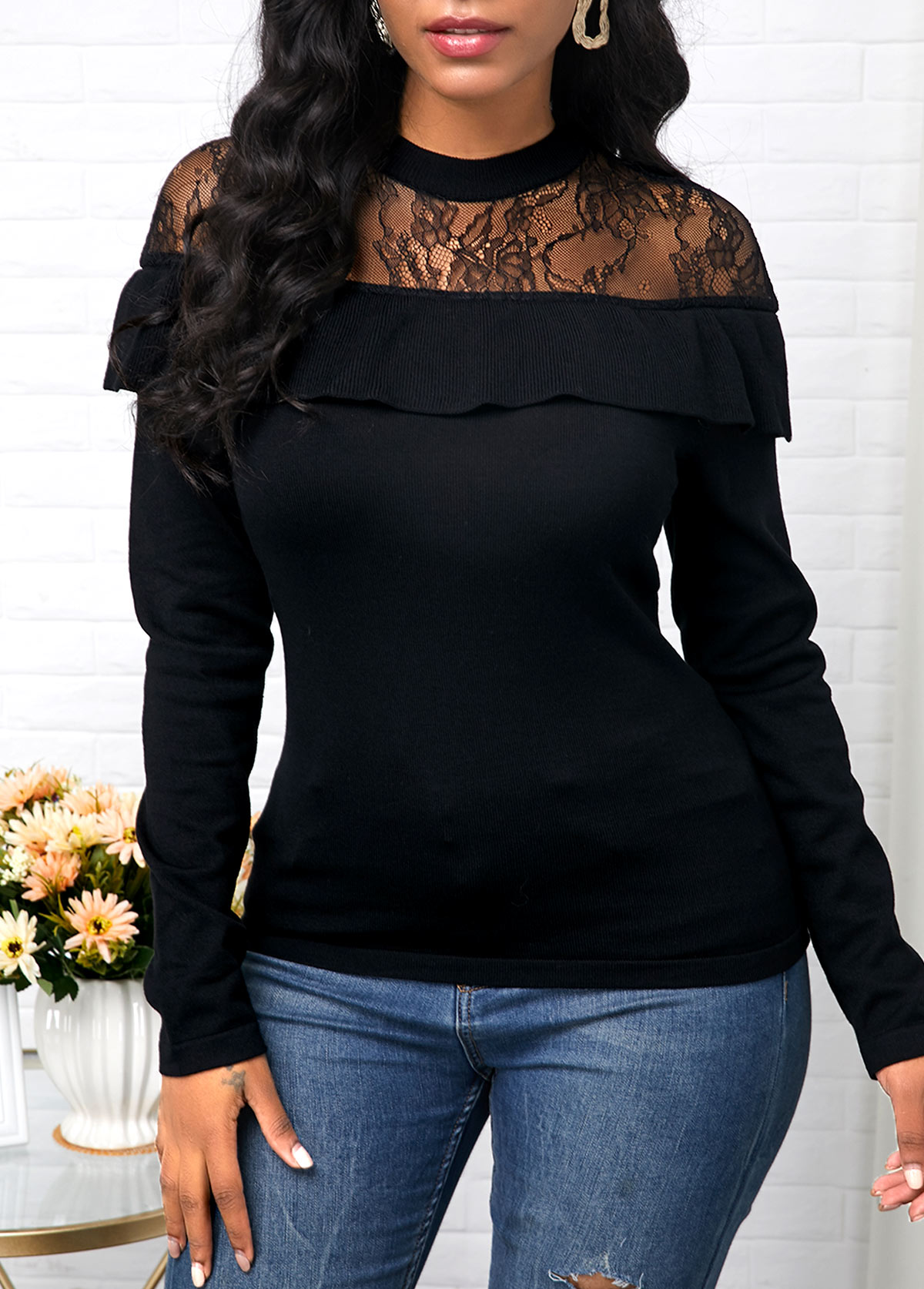 Ruffle Decorated Lace Patchwork Black Sweater