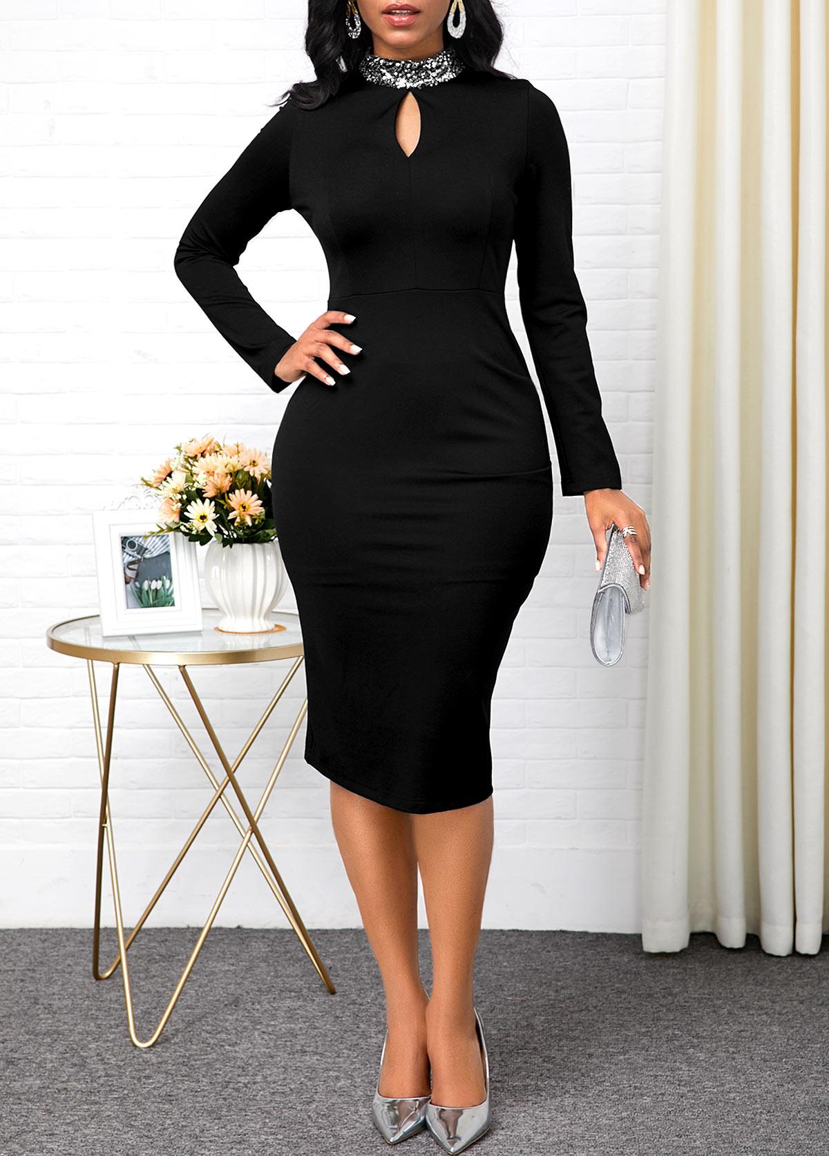 Black Keyhole Neckline Long Sleeve Dress