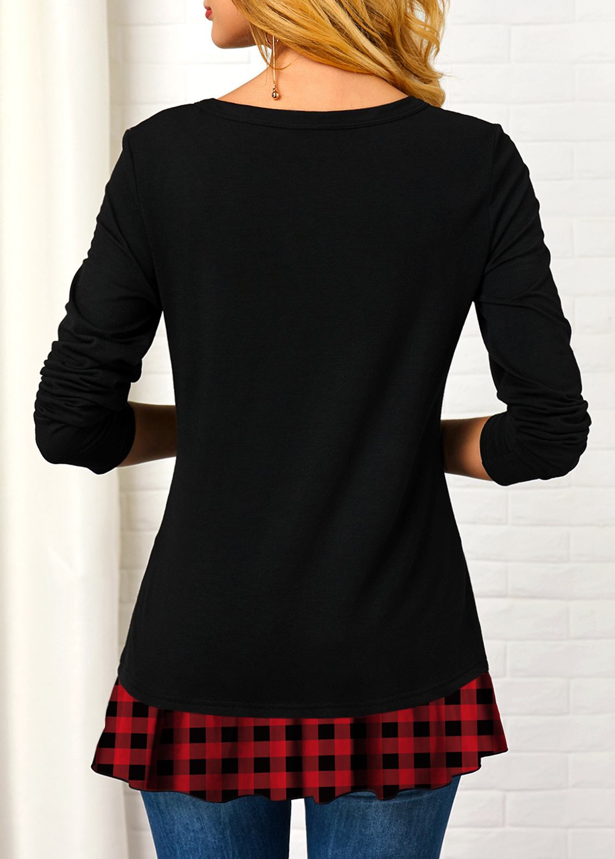 V Neck Button Embellished Plaid Print T Shirt