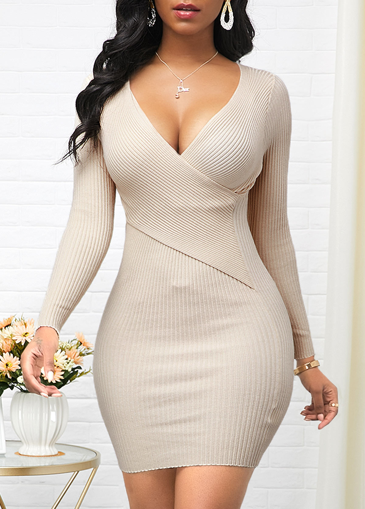 Long Sleeve Beige Cross Chest Sweater Dress