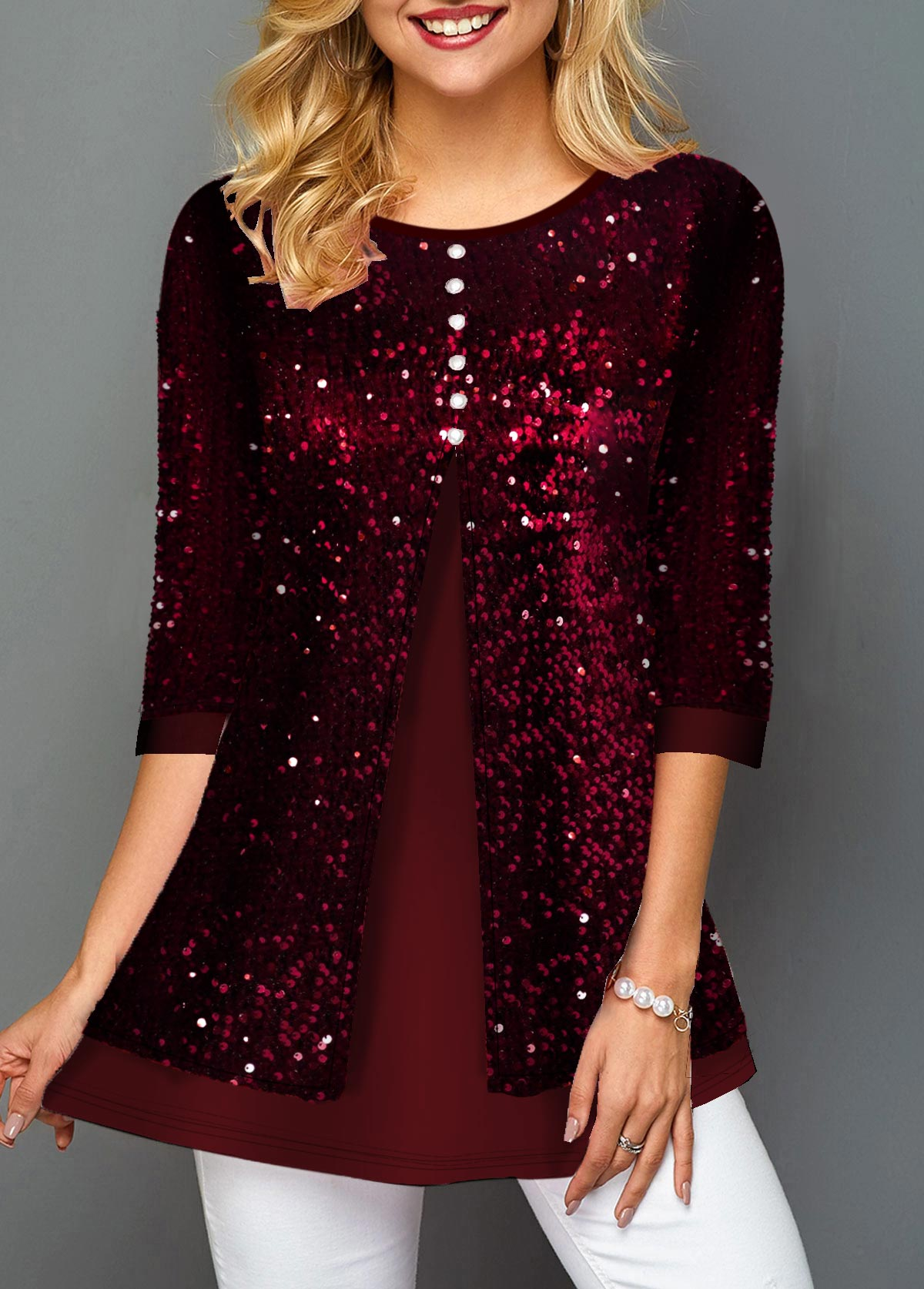 Button Detail Sequin Panel Wine Red T Shirt