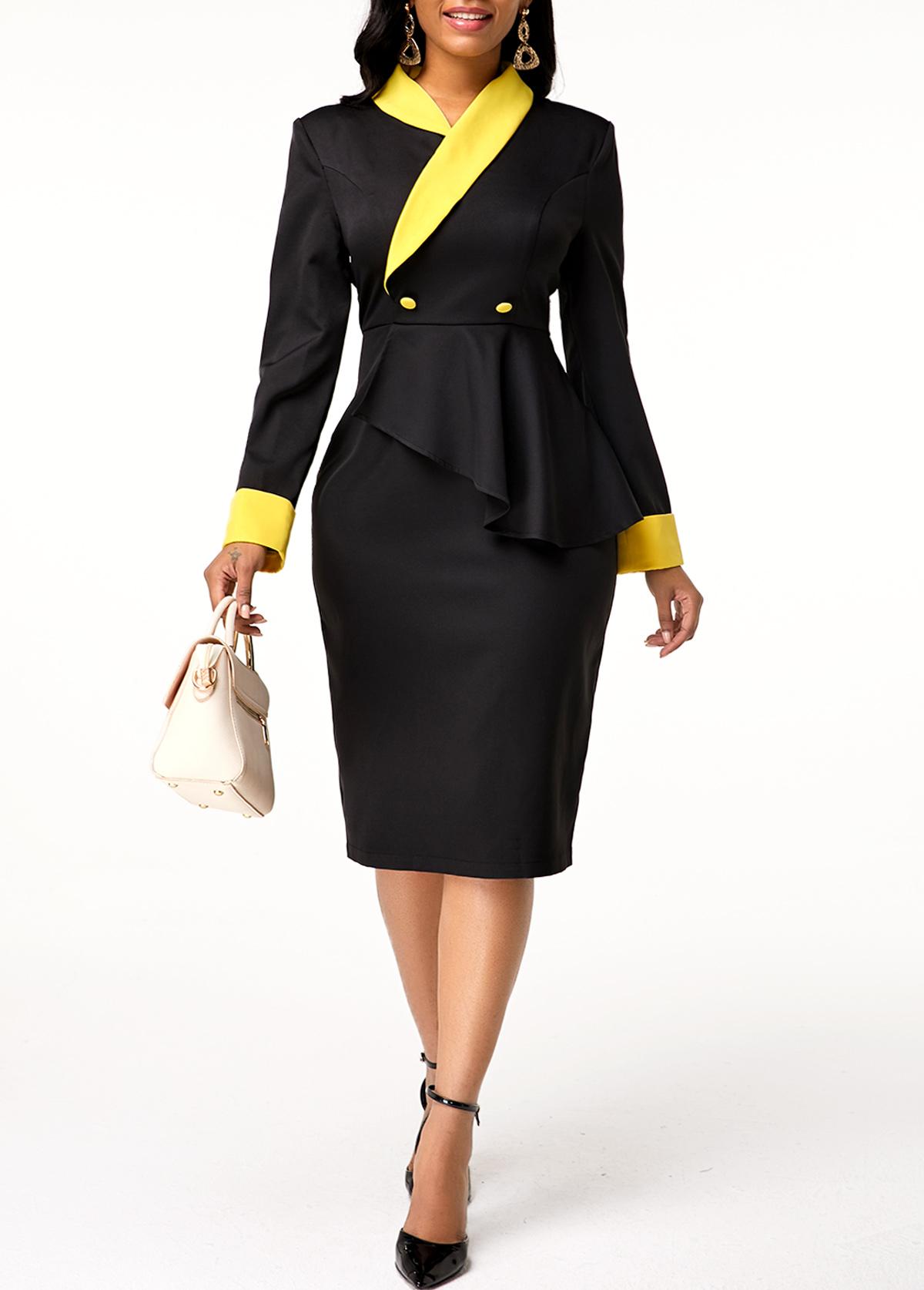 Button Detail Long Sleeve Zipper Closure Dress