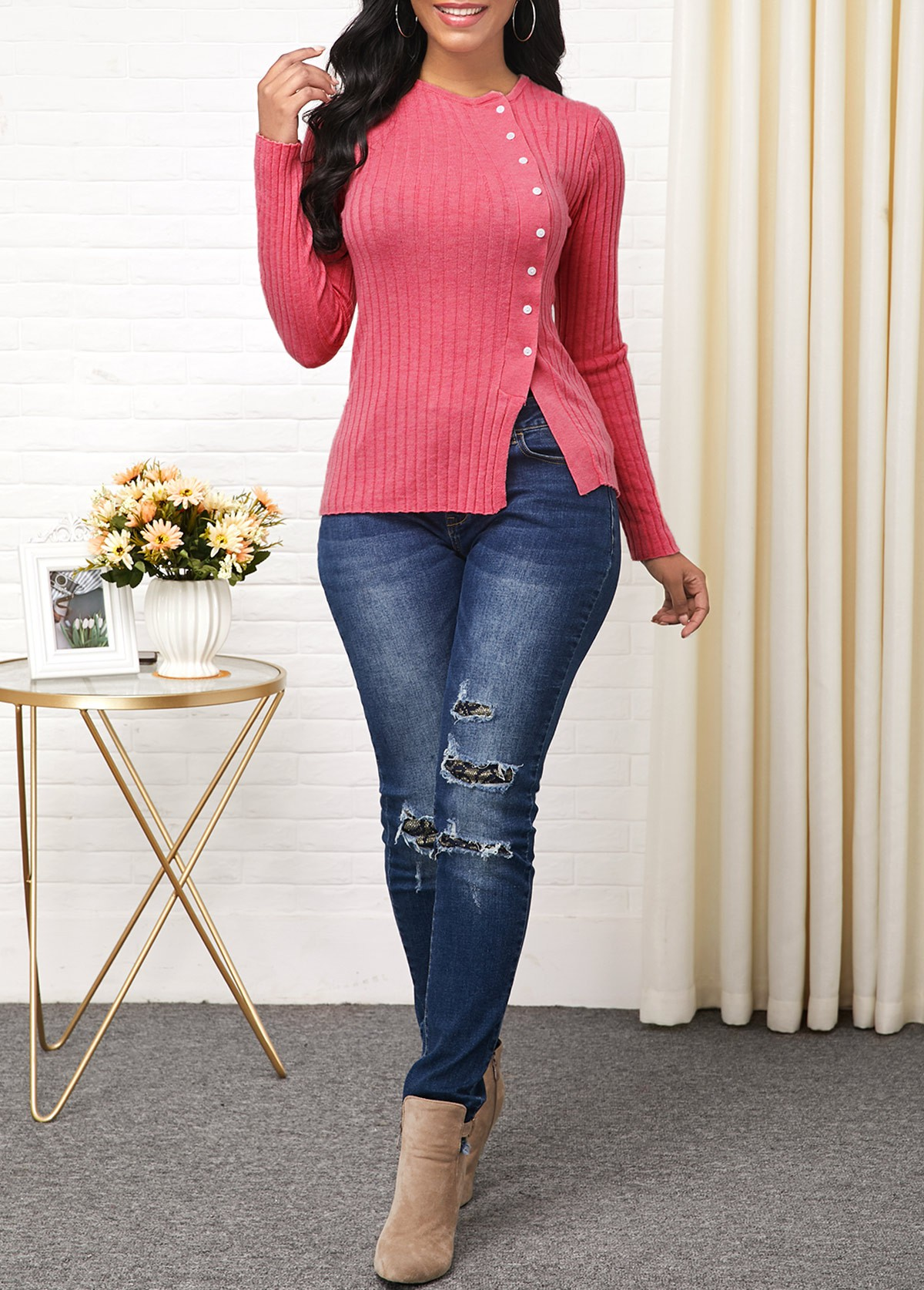 Button Detail Side Slit Long Sleeve Sweater