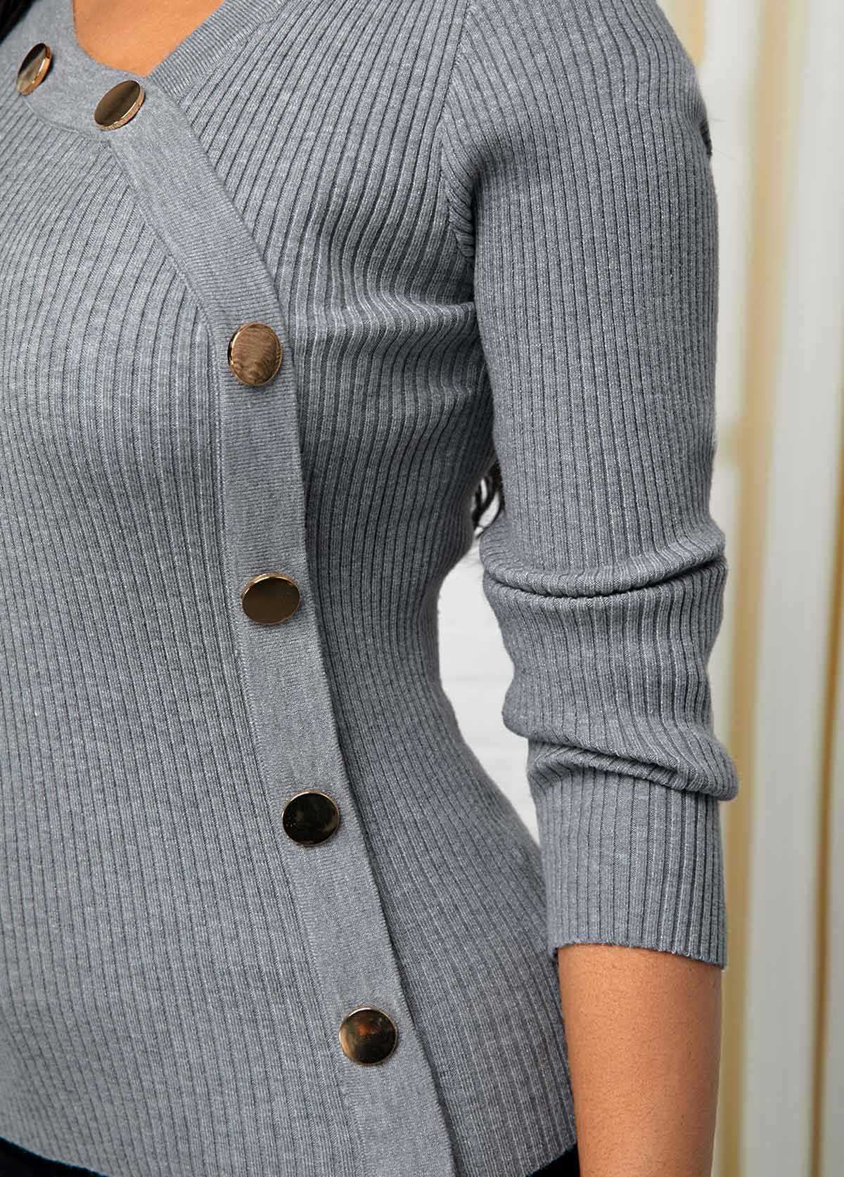 Long Sleeve Inclined Button Light Grey Sweater