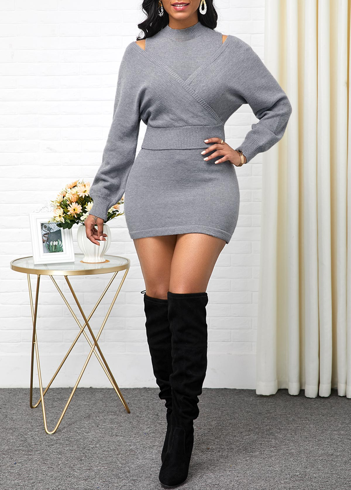 Long Sleeve Sweater and Sleeveless Light Grey Sweater Dress