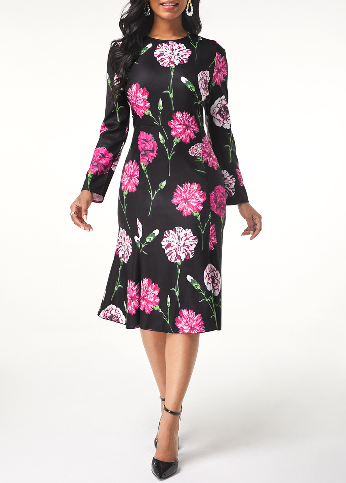 Round Neck Long Sleeve Flower Print Dress