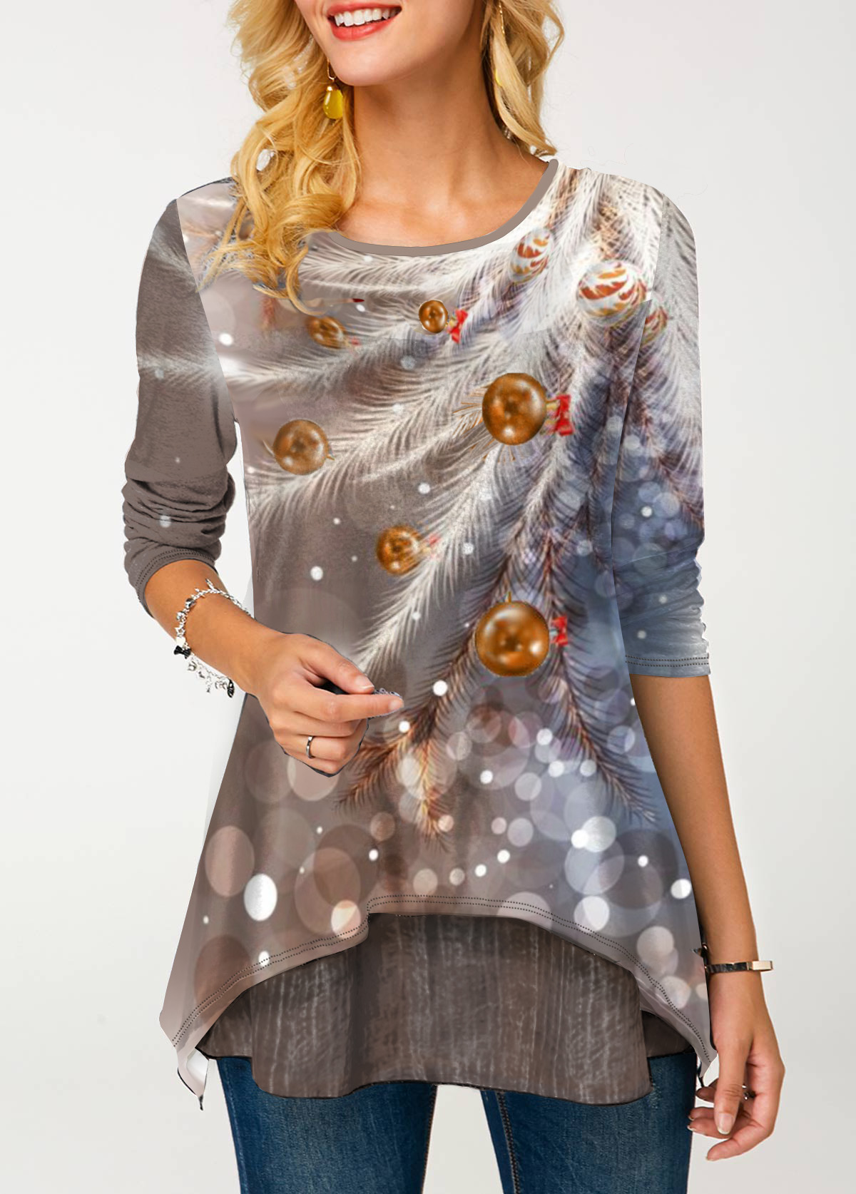 Round Neck Feather Print Long Sleeve T Shirt